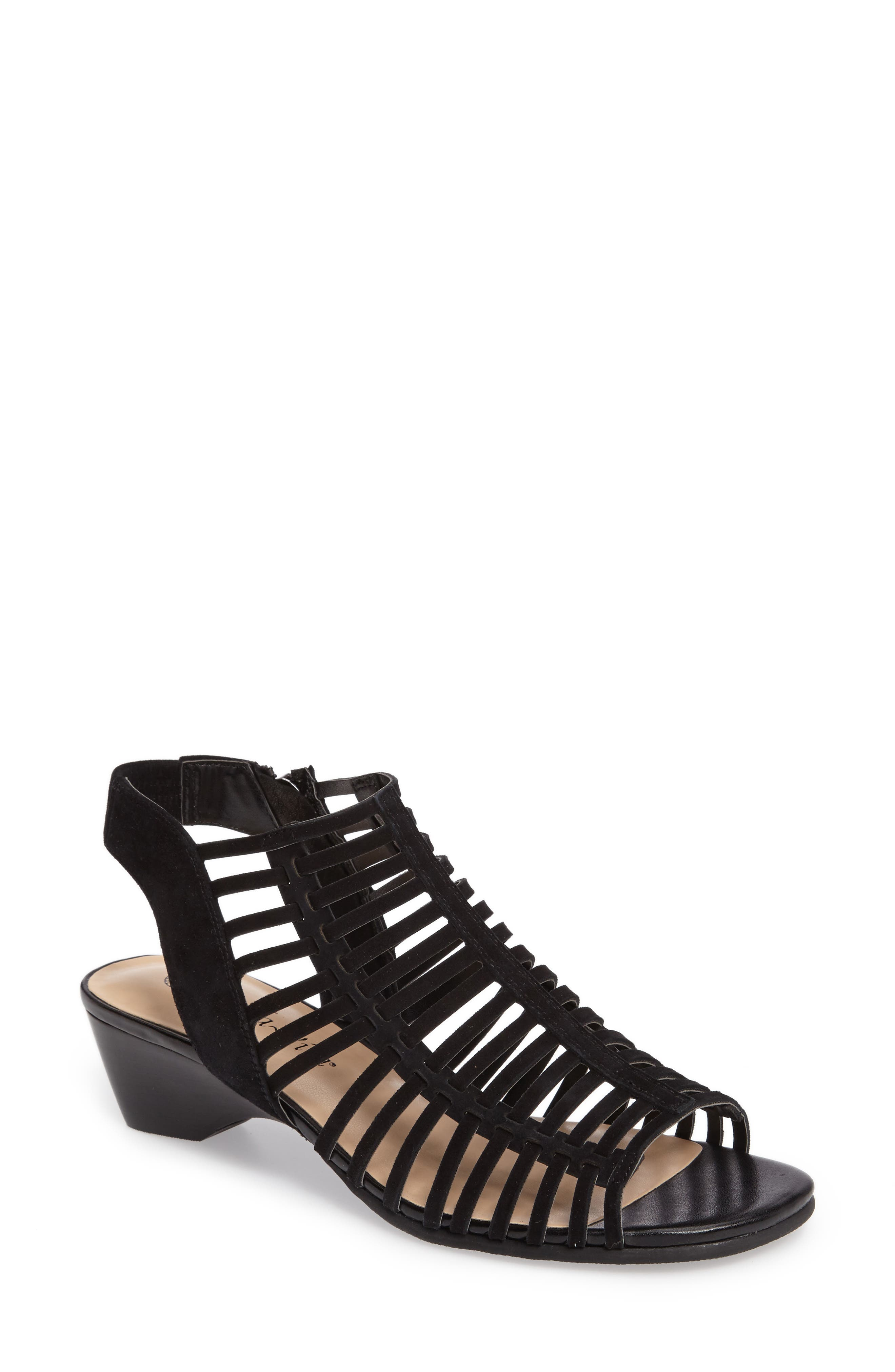 Pacey Cage Sandal,                         Main,                         color, BLACK SUEDE