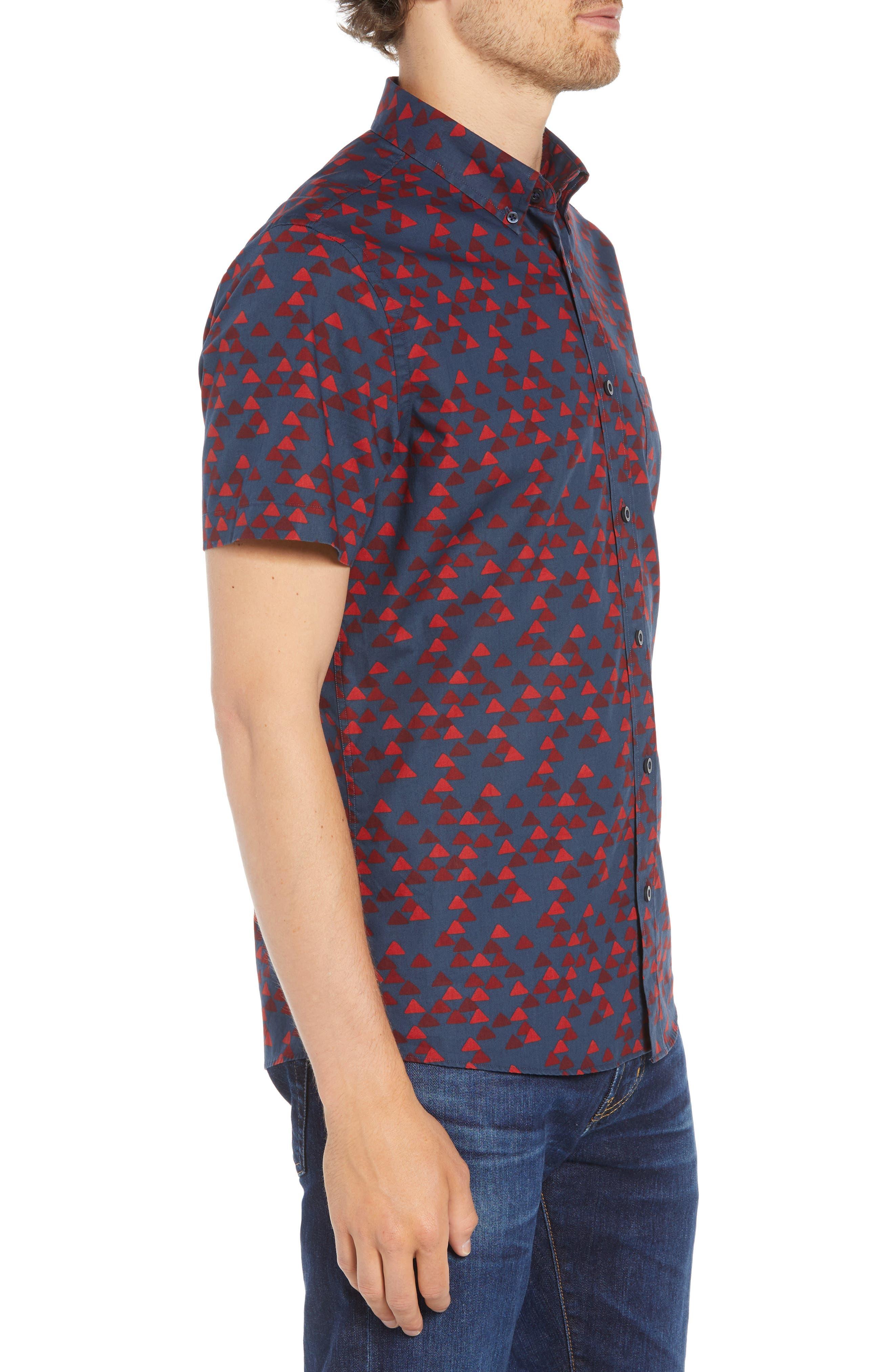 Ivy Trim Fit Print Sport Shirt,                             Alternate thumbnail 3, color,                             NAVY IRIS BURGUNDY TRIANGLES