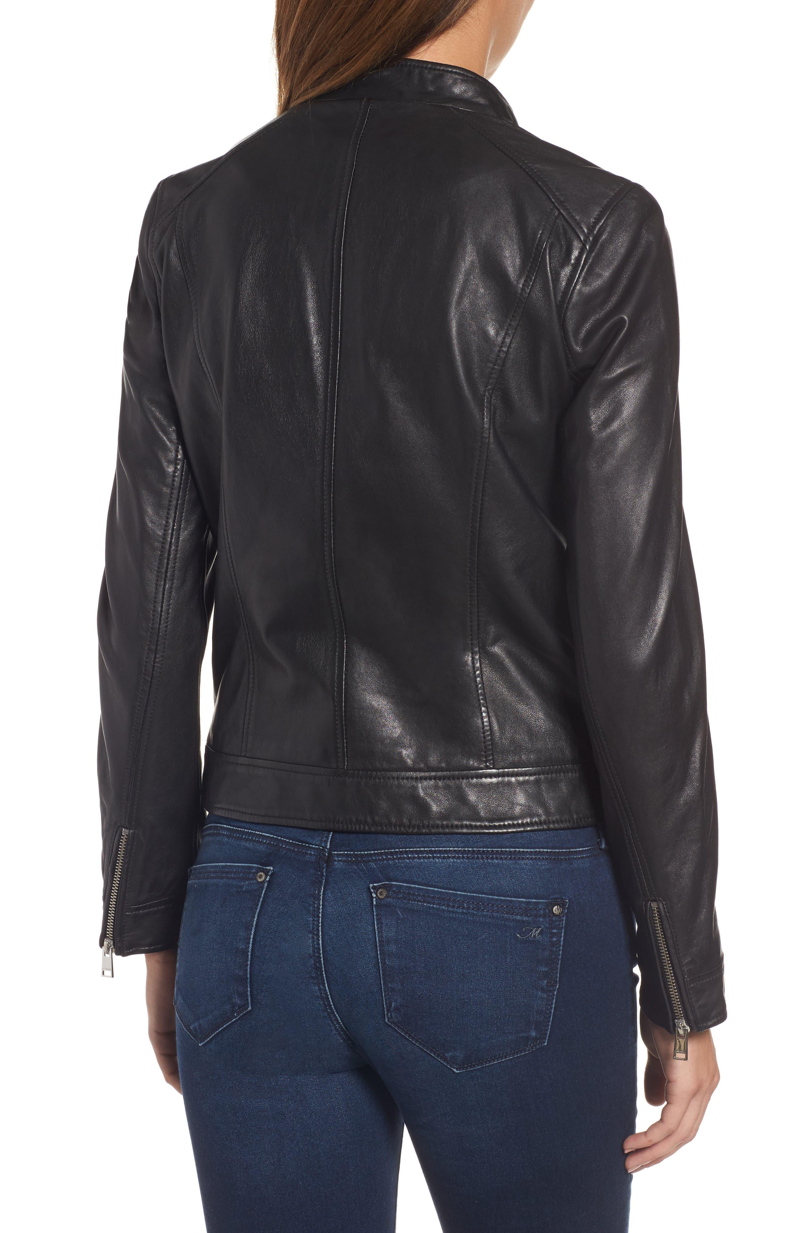 Patch Pocket Leather Biker Jacket,                             Alternate thumbnail 2, color,                             BLACK