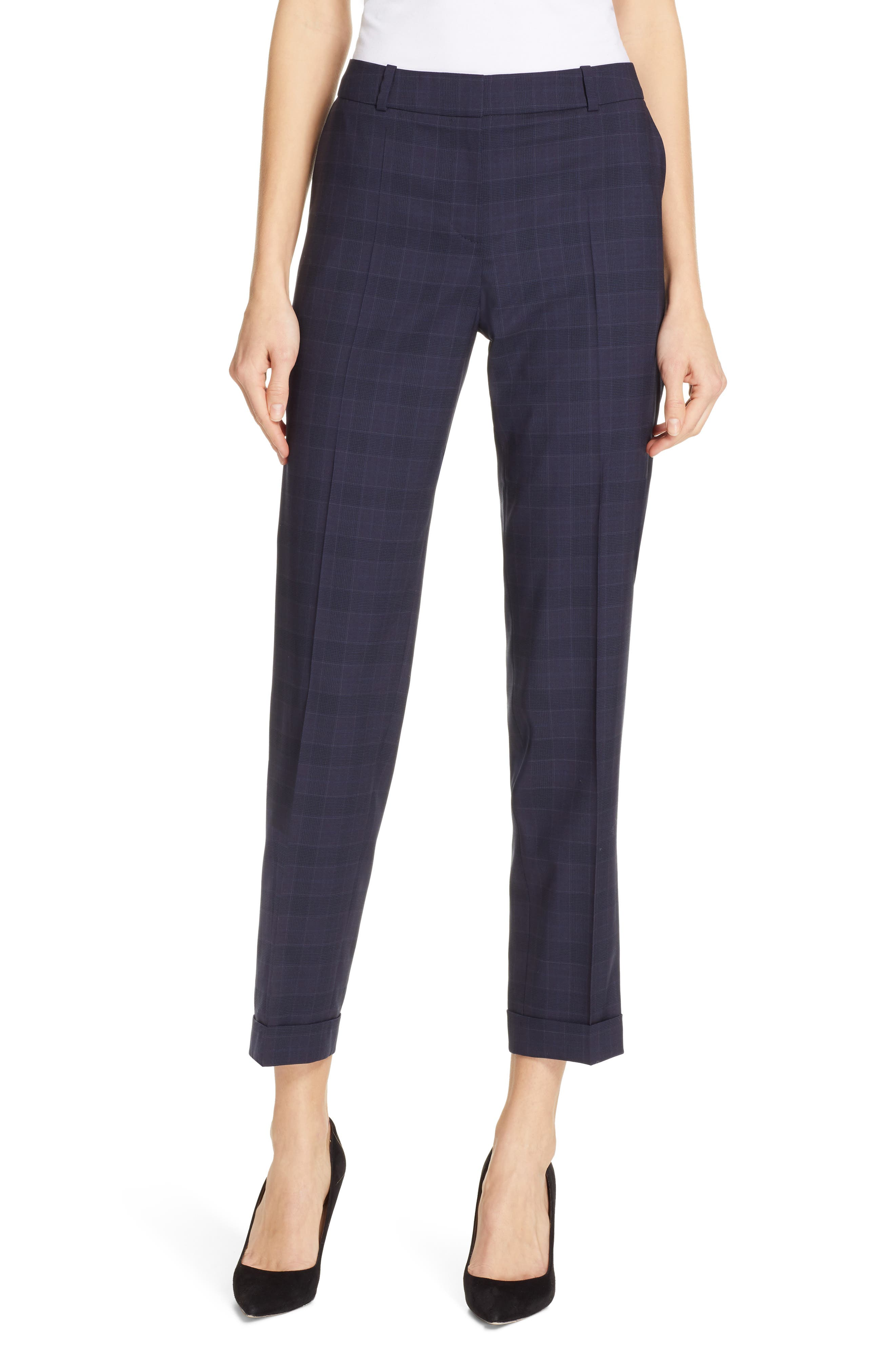 Tocanes Modern Check Wool Ankle Trousers,                         Main,                         color, DARK NAVY FANTASY
