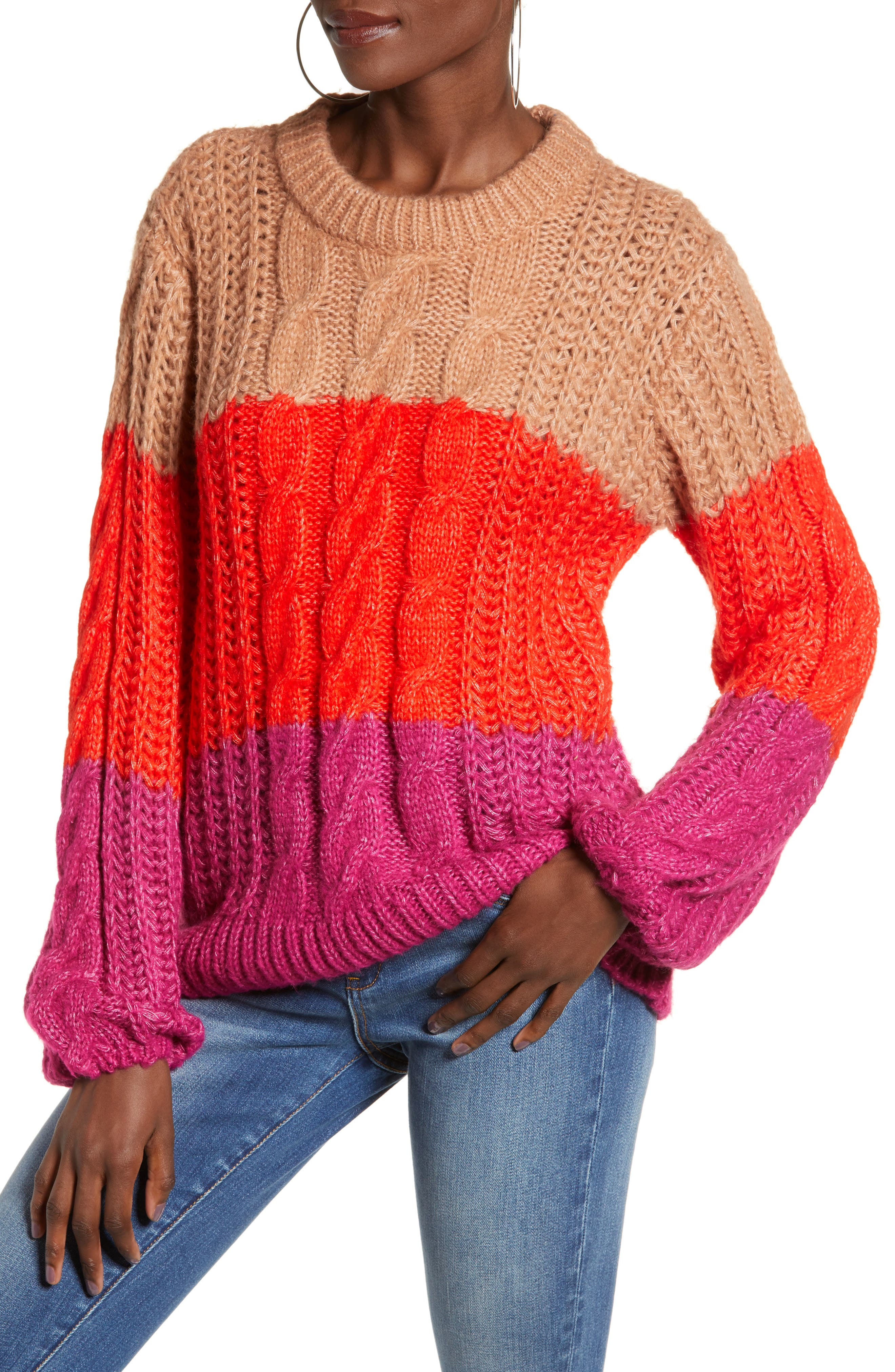 Becca Colorblock Chunky Cable Sweater,                             Main thumbnail 1, color,                             CAFE AU LAIT