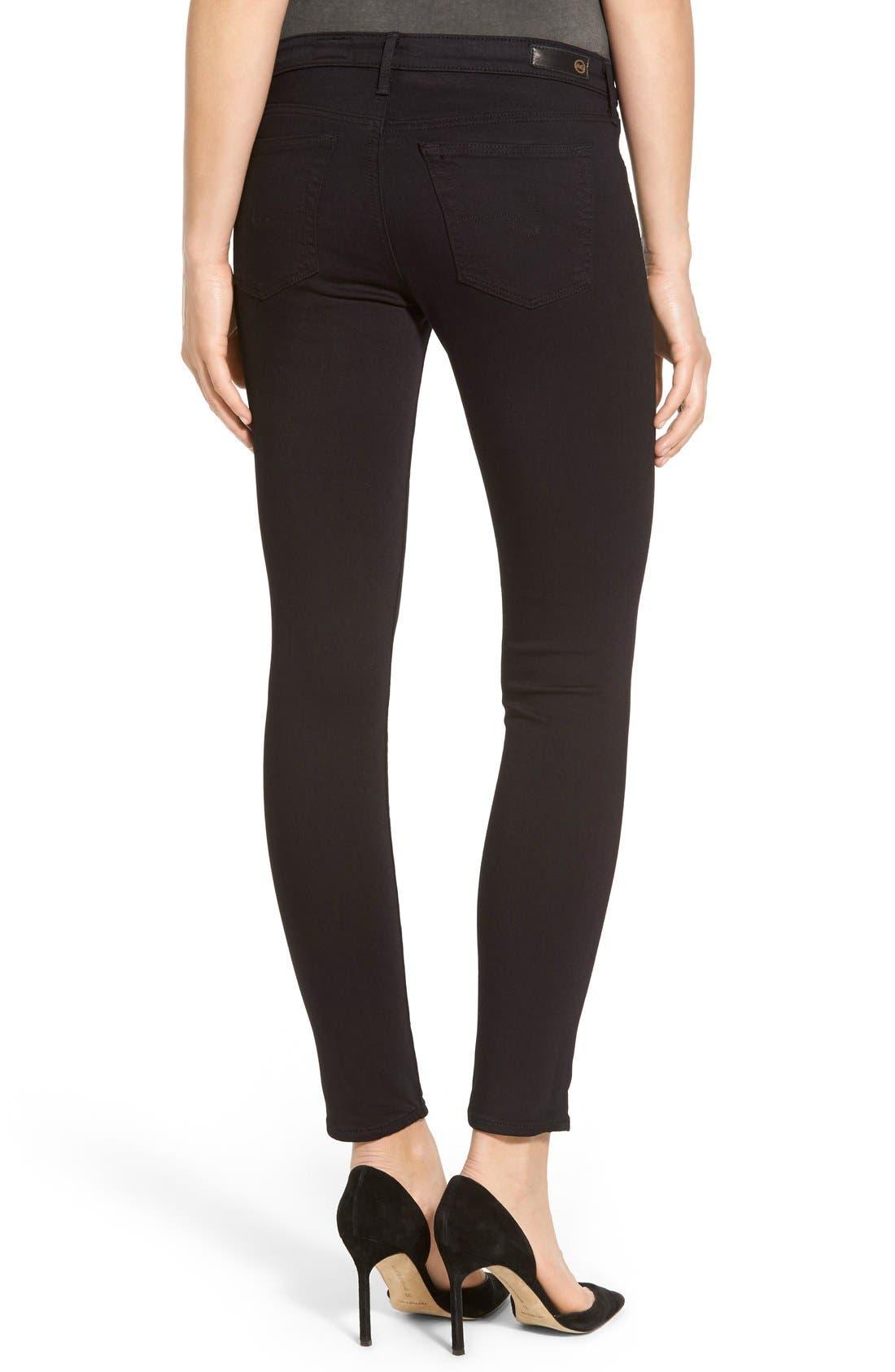 'The Legging' Ankle Super Skinny Jeans,                             Alternate thumbnail 3, color,                             SUPER BLACK