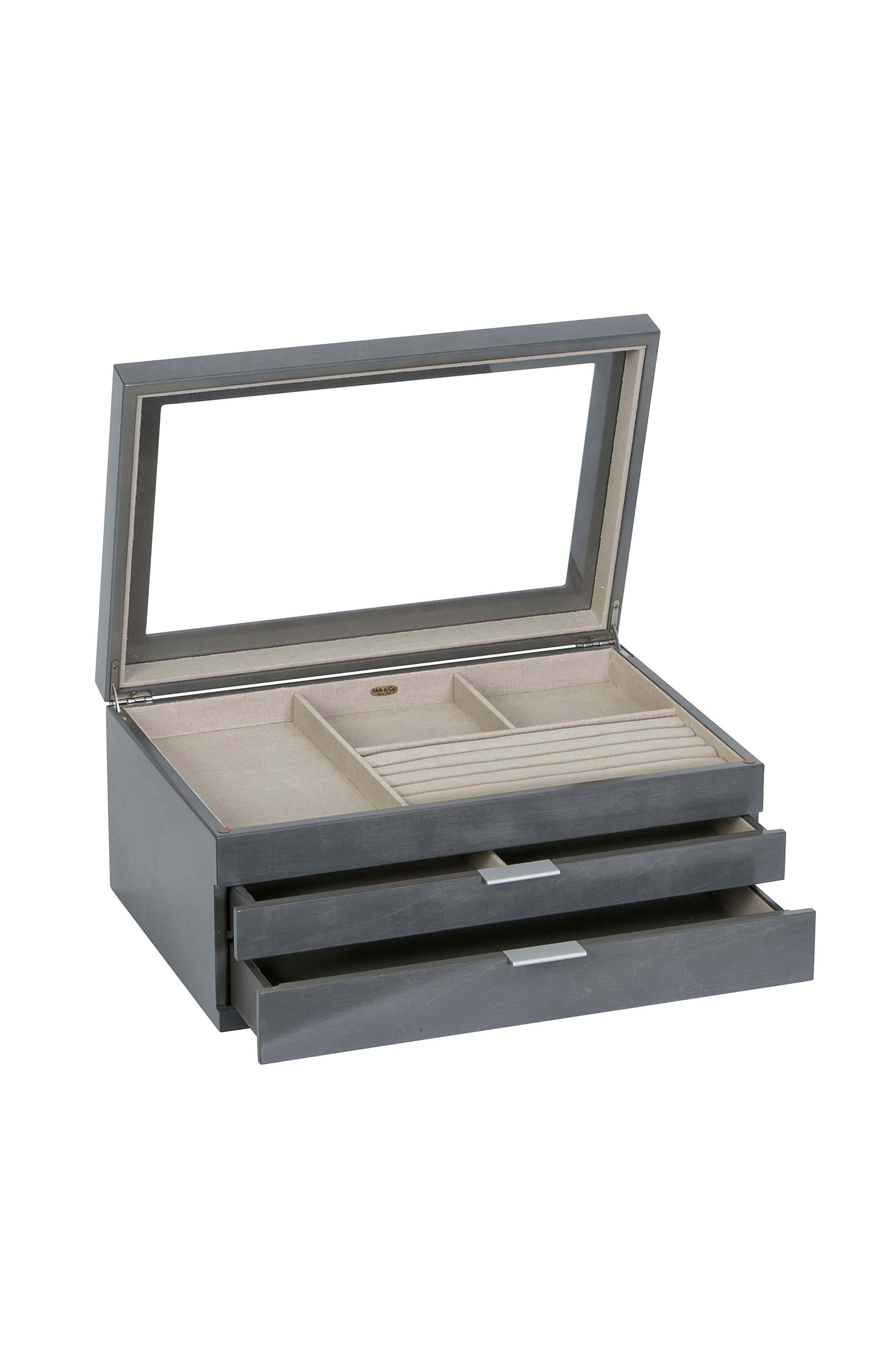 Misty Glass Top Jewelry Box,                             Alternate thumbnail 4, color,                             GRAY
