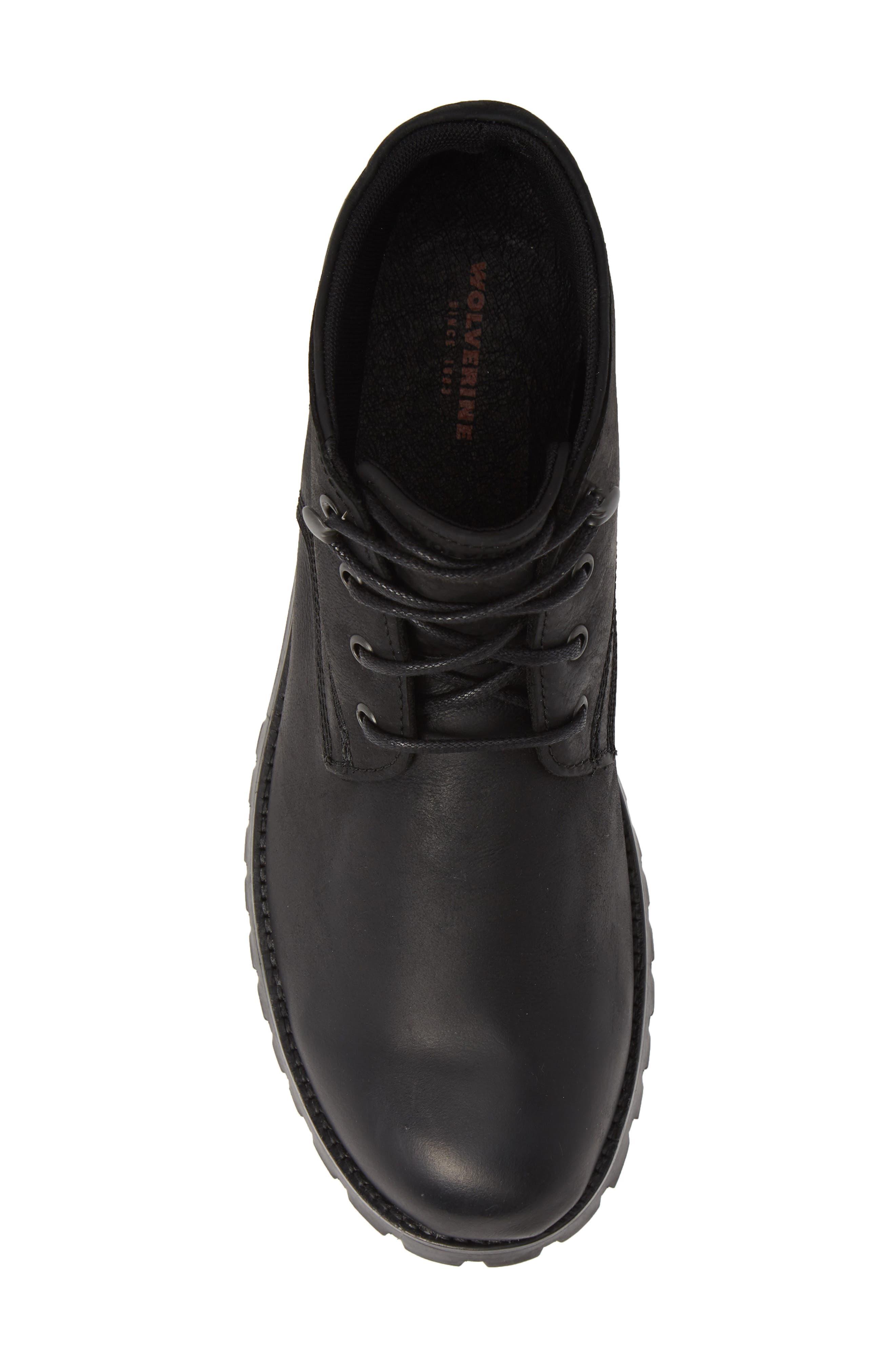 WOLVERINE,                             Cort Plain Toe Waterproof Boot,                             Alternate thumbnail 5, color,                             MEDIUM BLACK