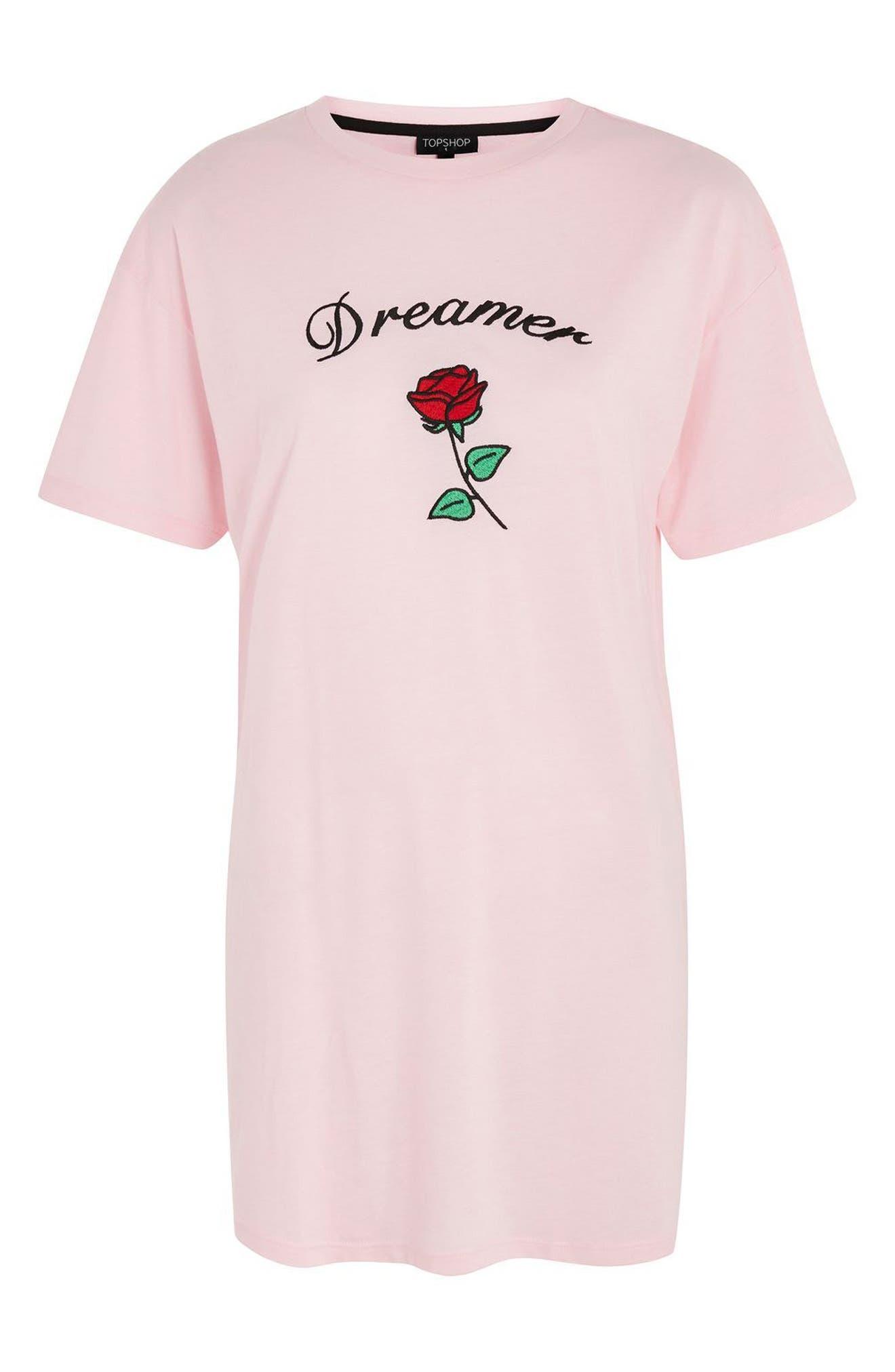 Dreamer Embroidered Sleep Shirt,                             Alternate thumbnail 3, color,