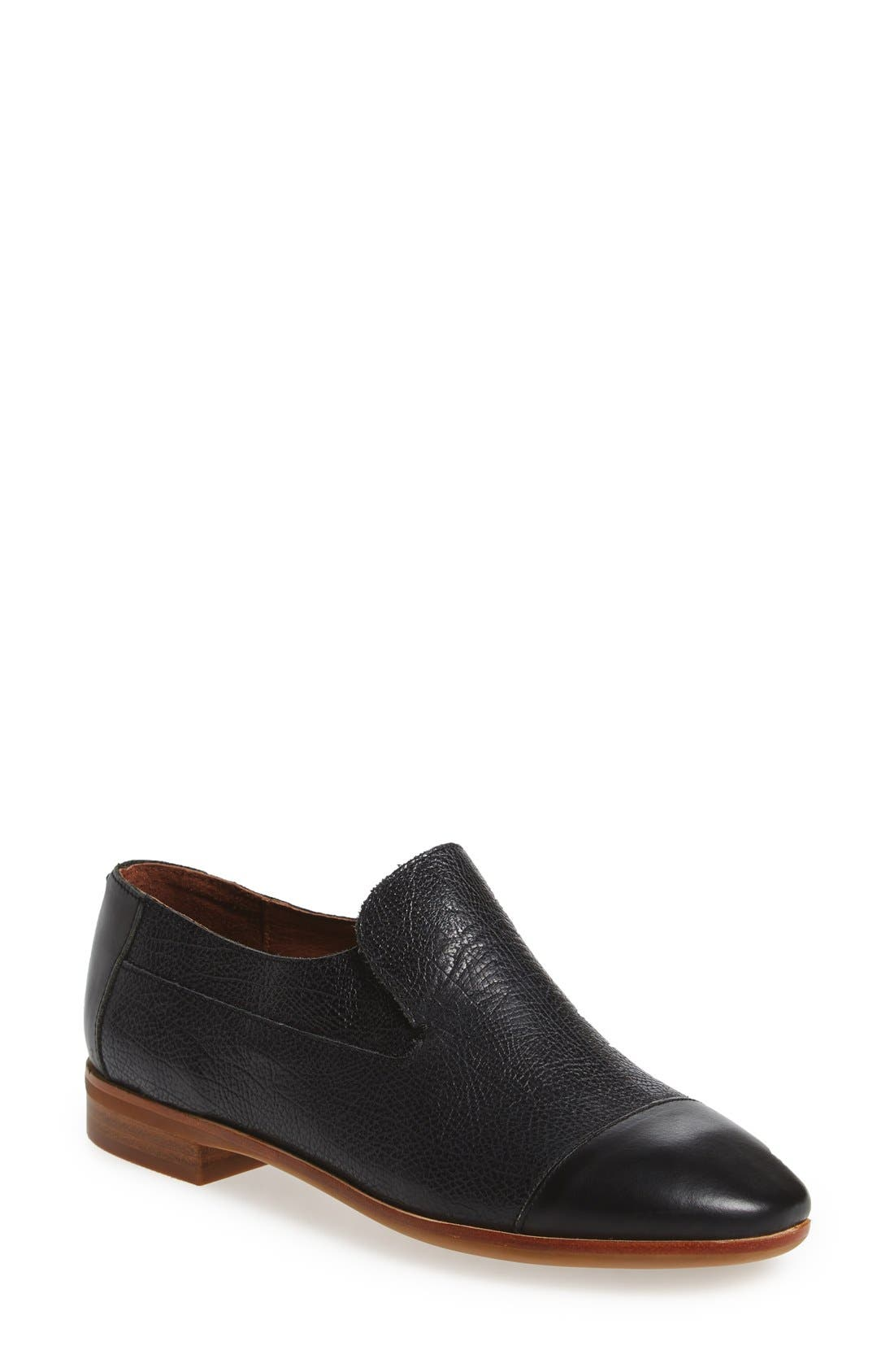 'Bryant' Cap Toe Loafer,                             Main thumbnail 1, color,                             BLACK LEATHER