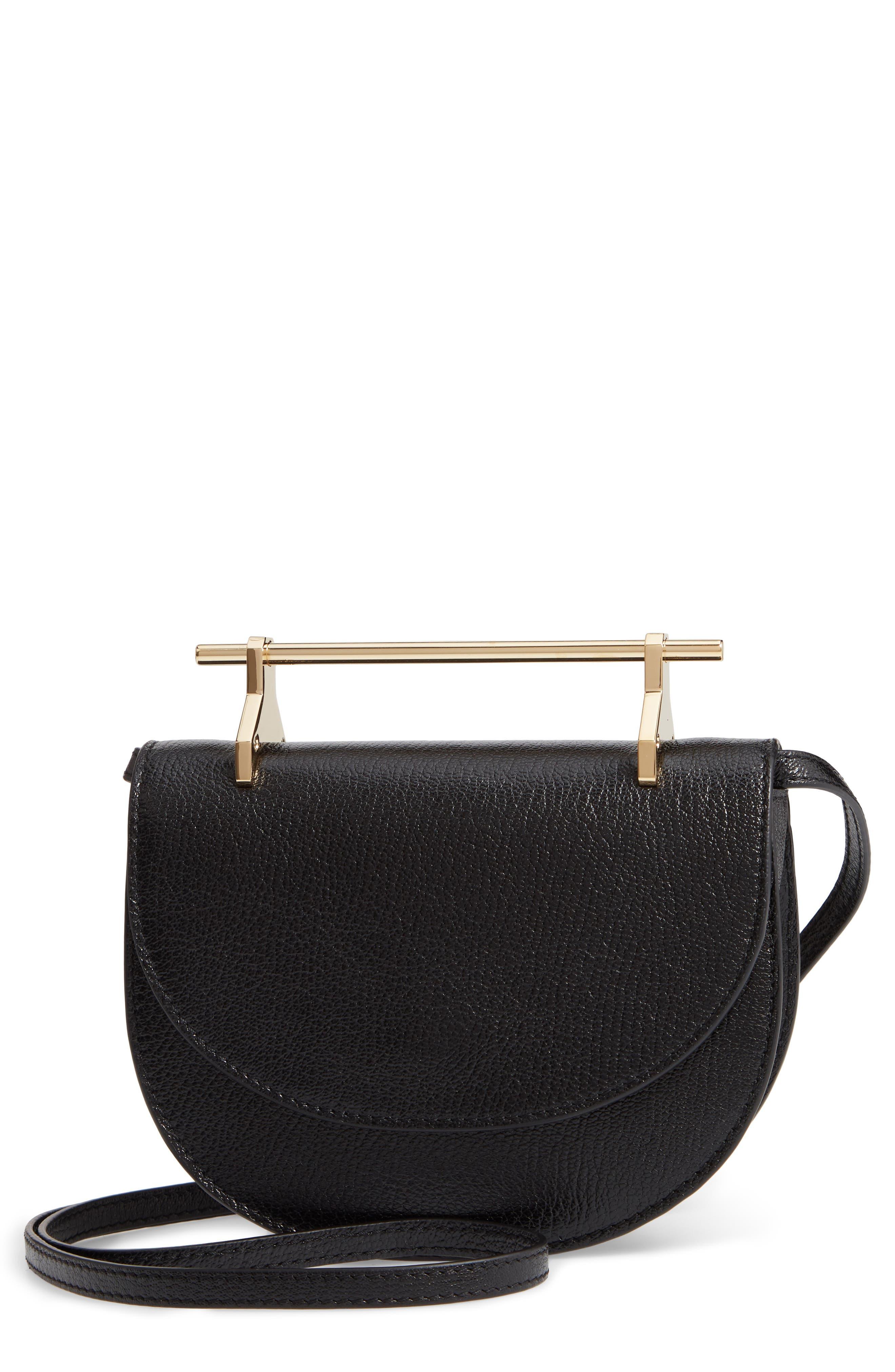 Half Moon Lux Calfskin Leather Crossbody Bag,                         Main,                         color, 001