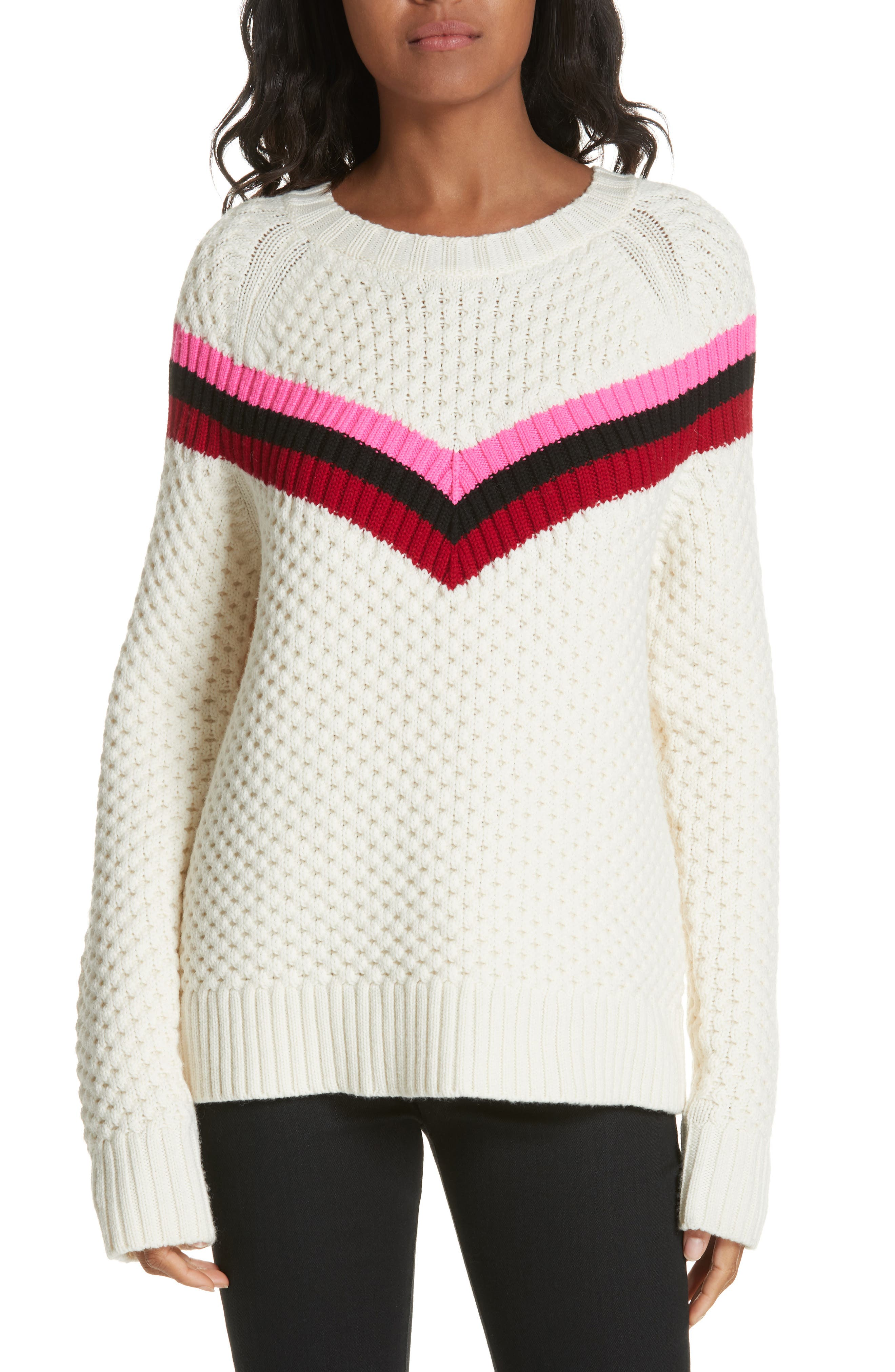 Varsity Stripe Popcorn Stitch Wool Blend Sweater,                         Main,                         color, WHITE MULTI