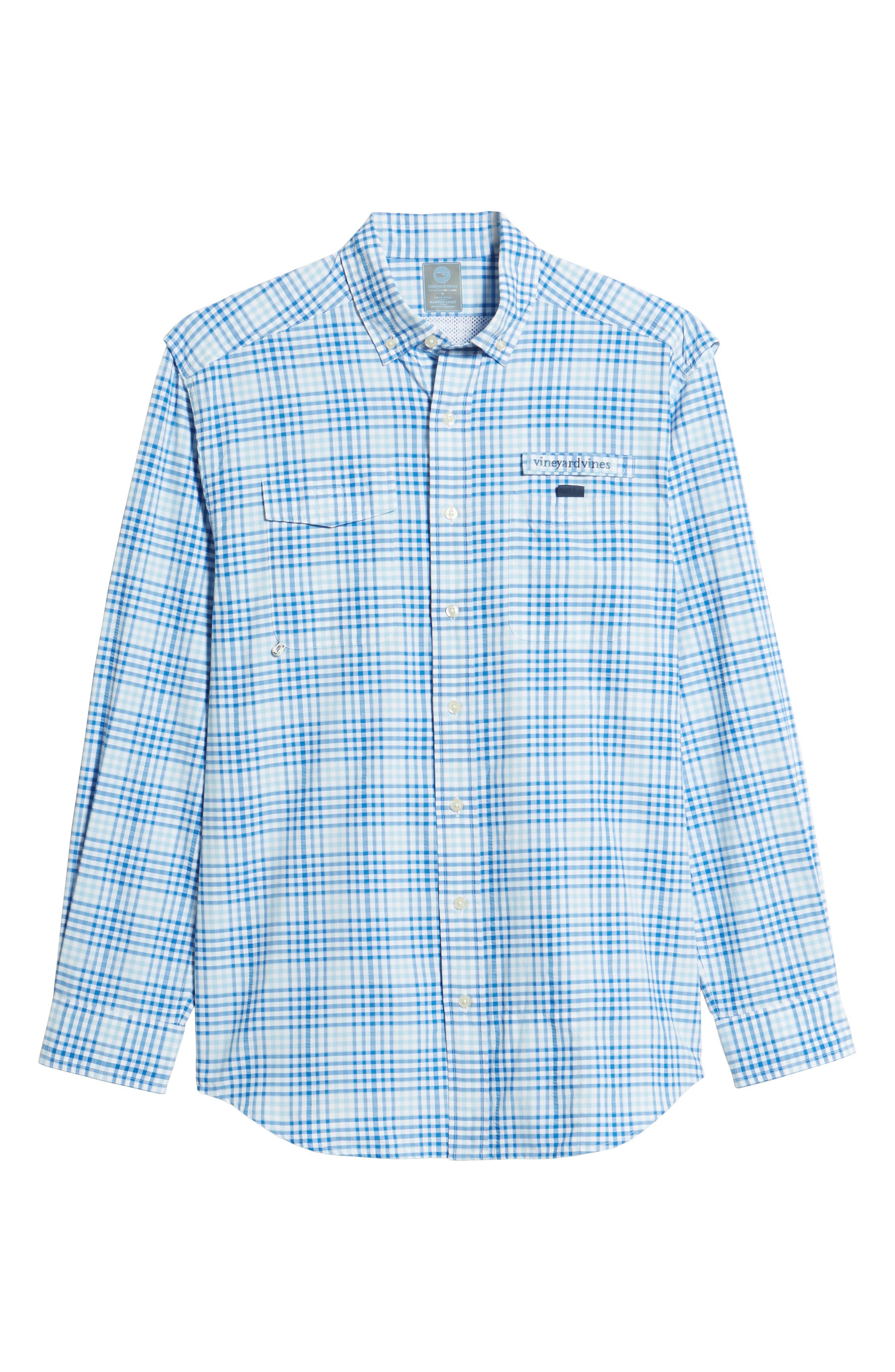 South Shore Harbor Regular Fit Plaid Performance Sport Shirt,                             Alternate thumbnail 6, color,                             JAKE BLUE