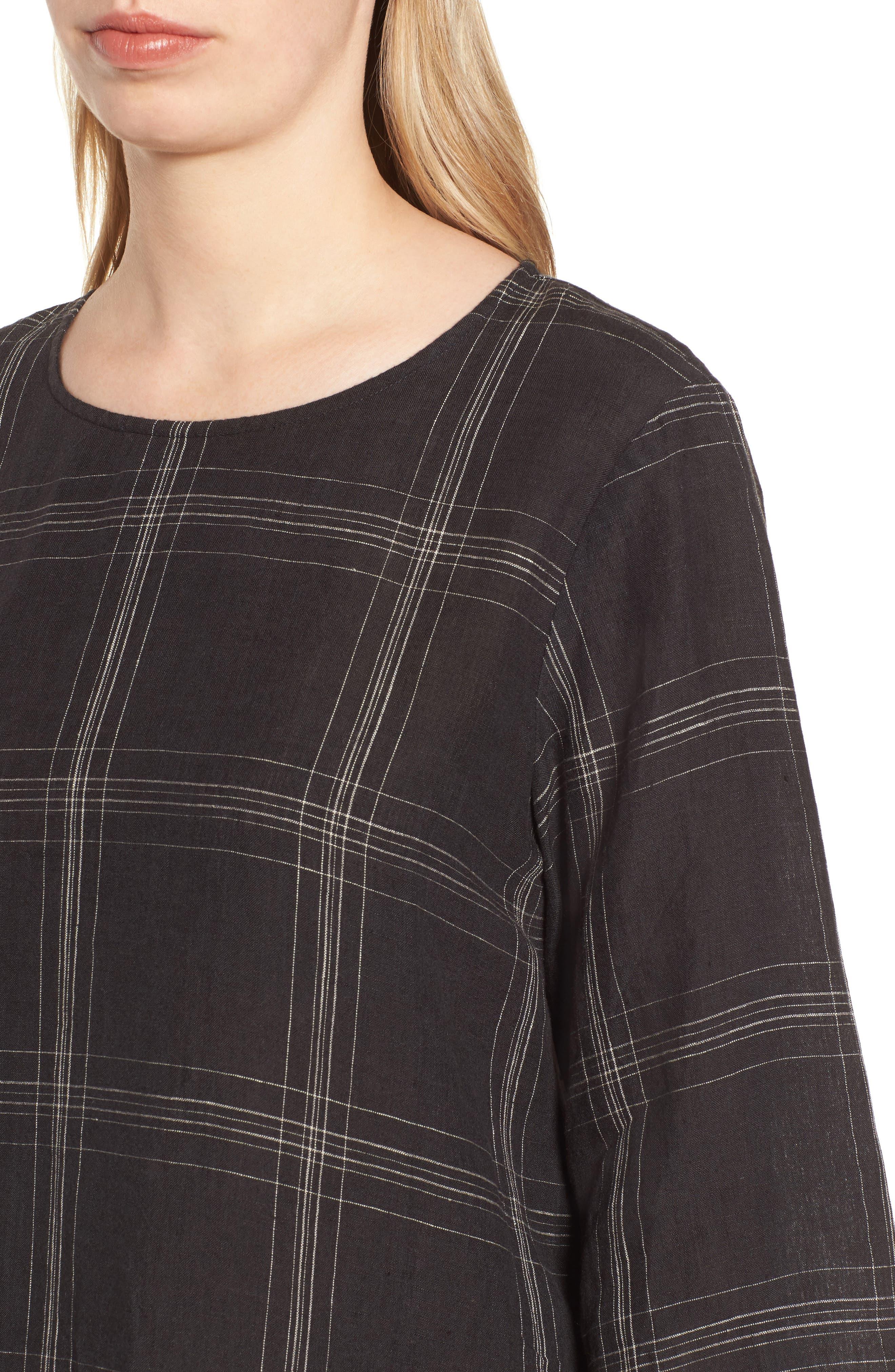 Plaid Organic Linen Tunic,                             Alternate thumbnail 4, color,                             001