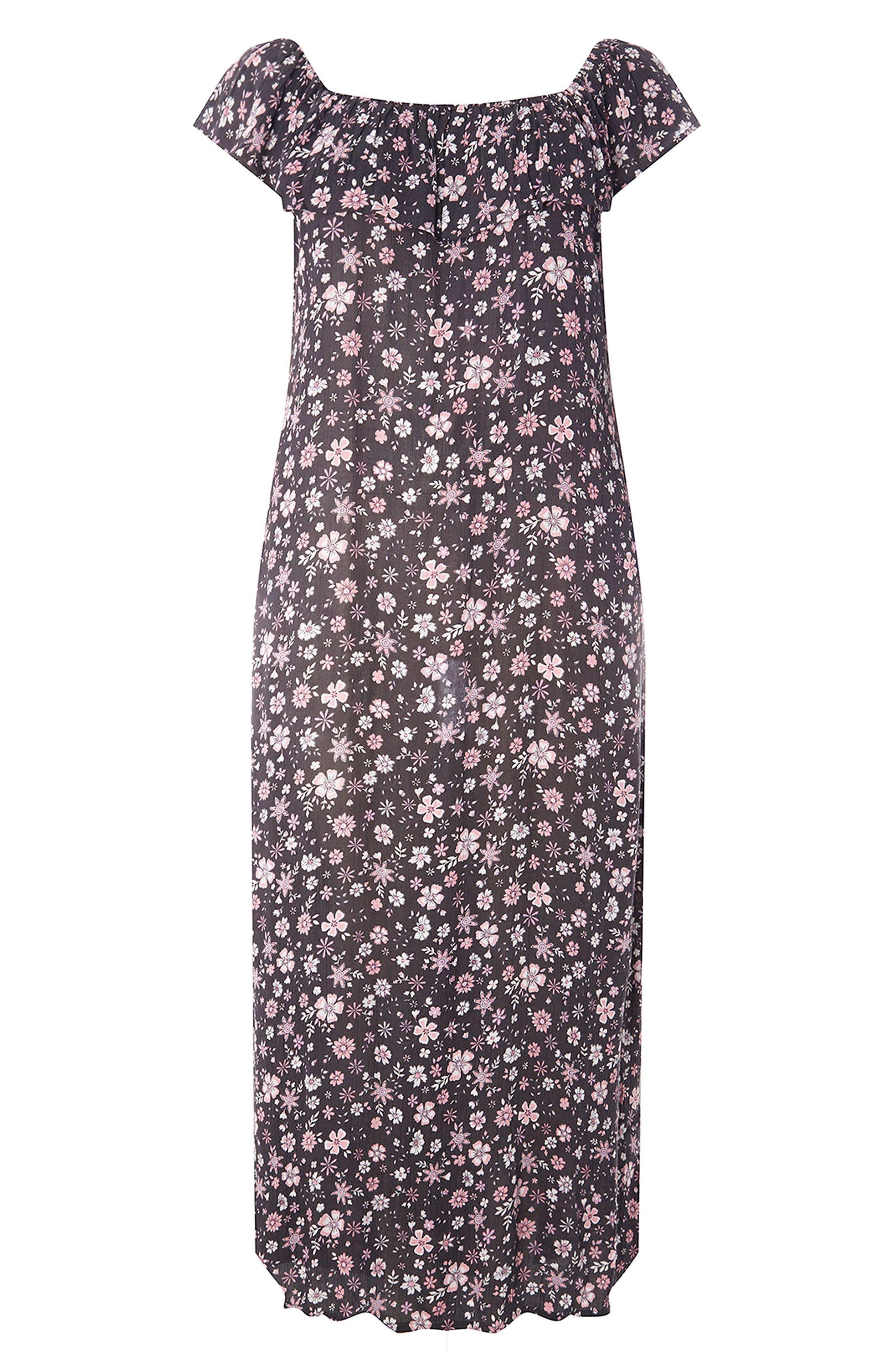 Ditsy Floral Convertible Maxi Dress,                             Alternate thumbnail 4, color,