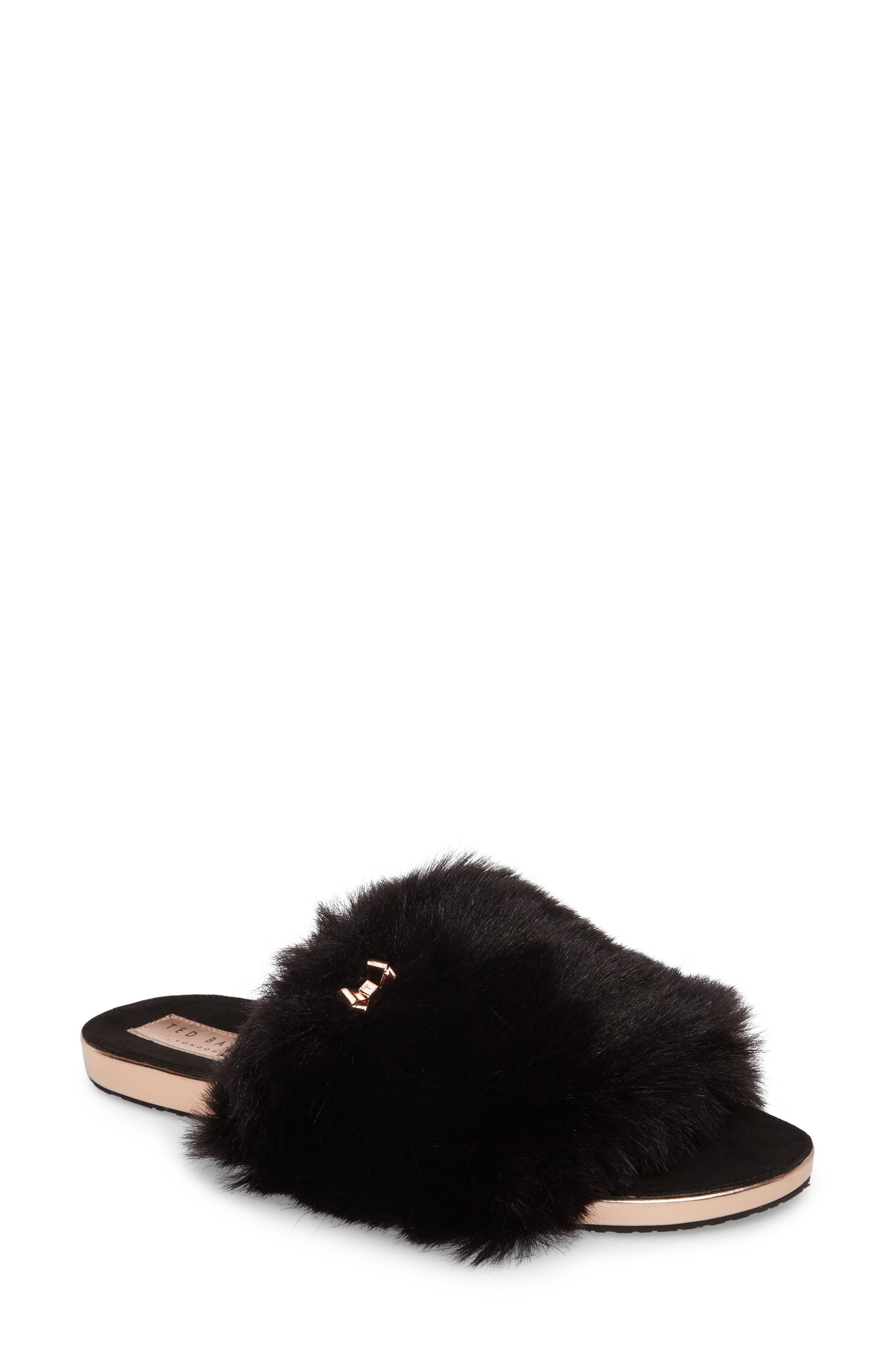 Pancey Faux Fur Slipper,                         Main,                         color, 001