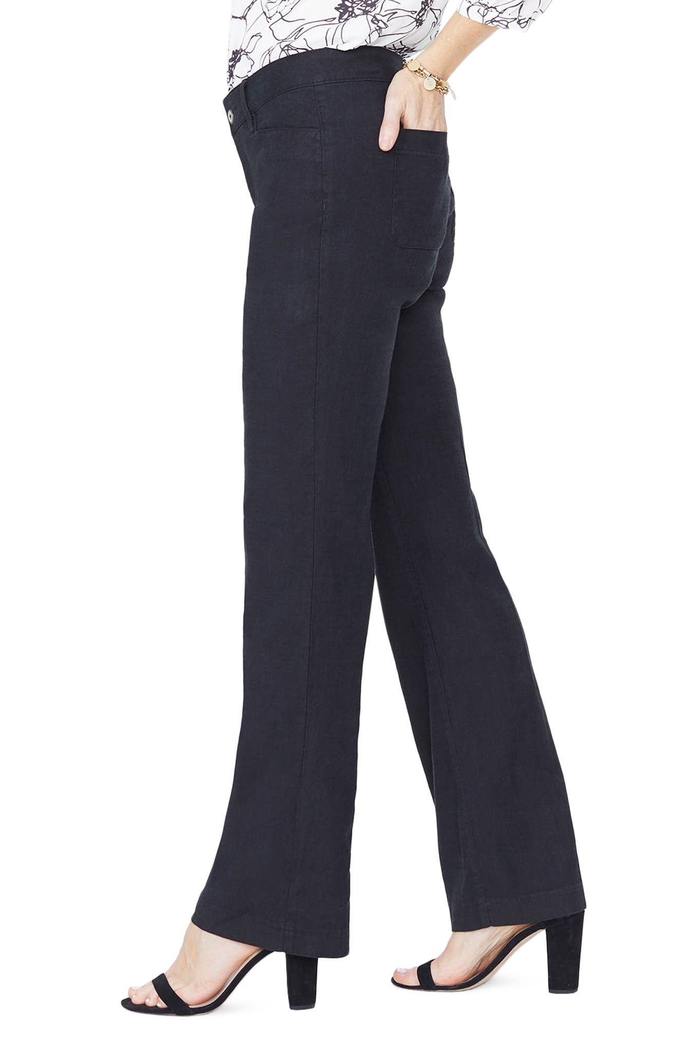 Linen Trousers,                             Alternate thumbnail 3, color,                             001