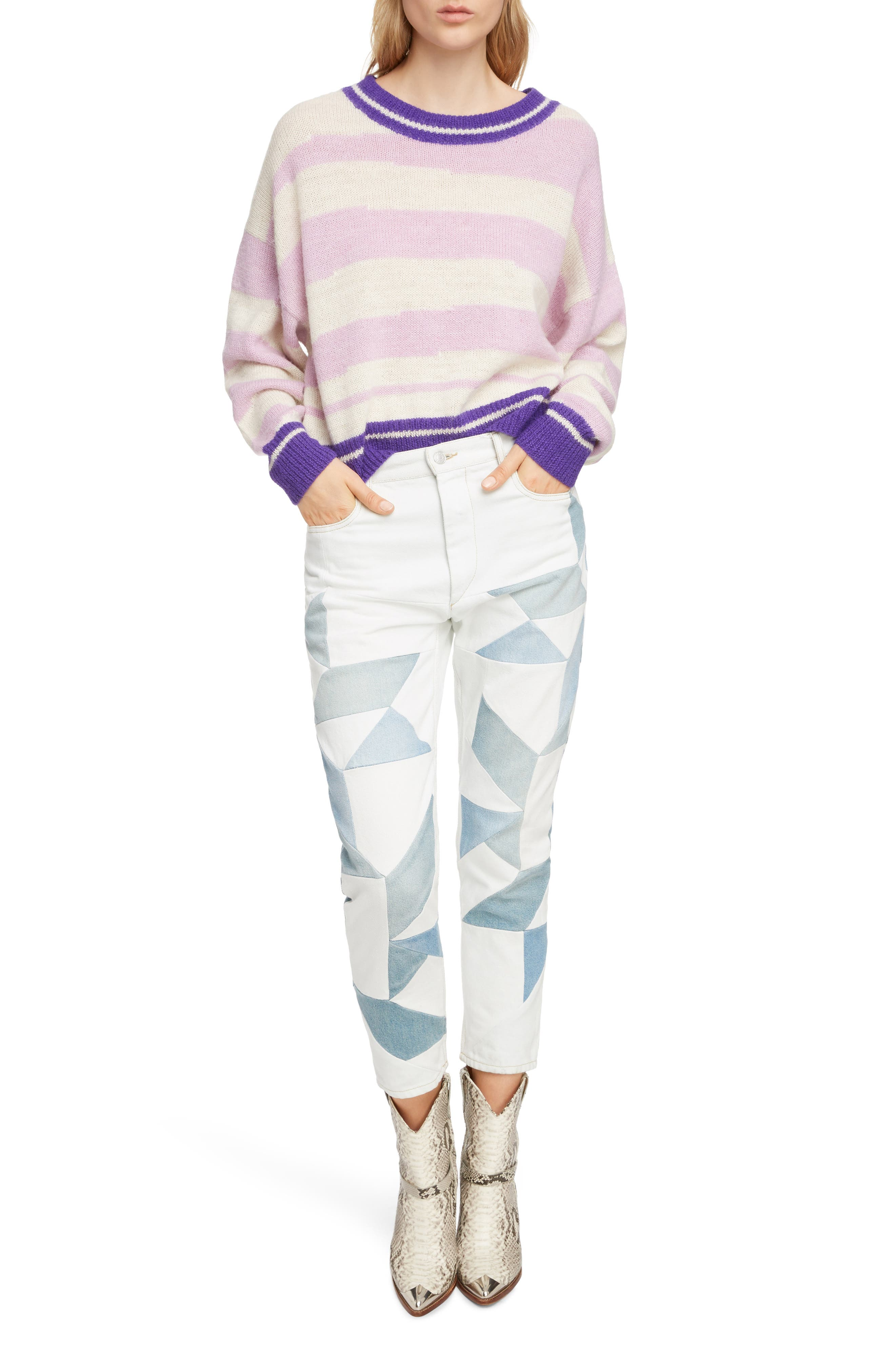 Glowy Stripe Sweater,                             Alternate thumbnail 6, color,                             LILAC