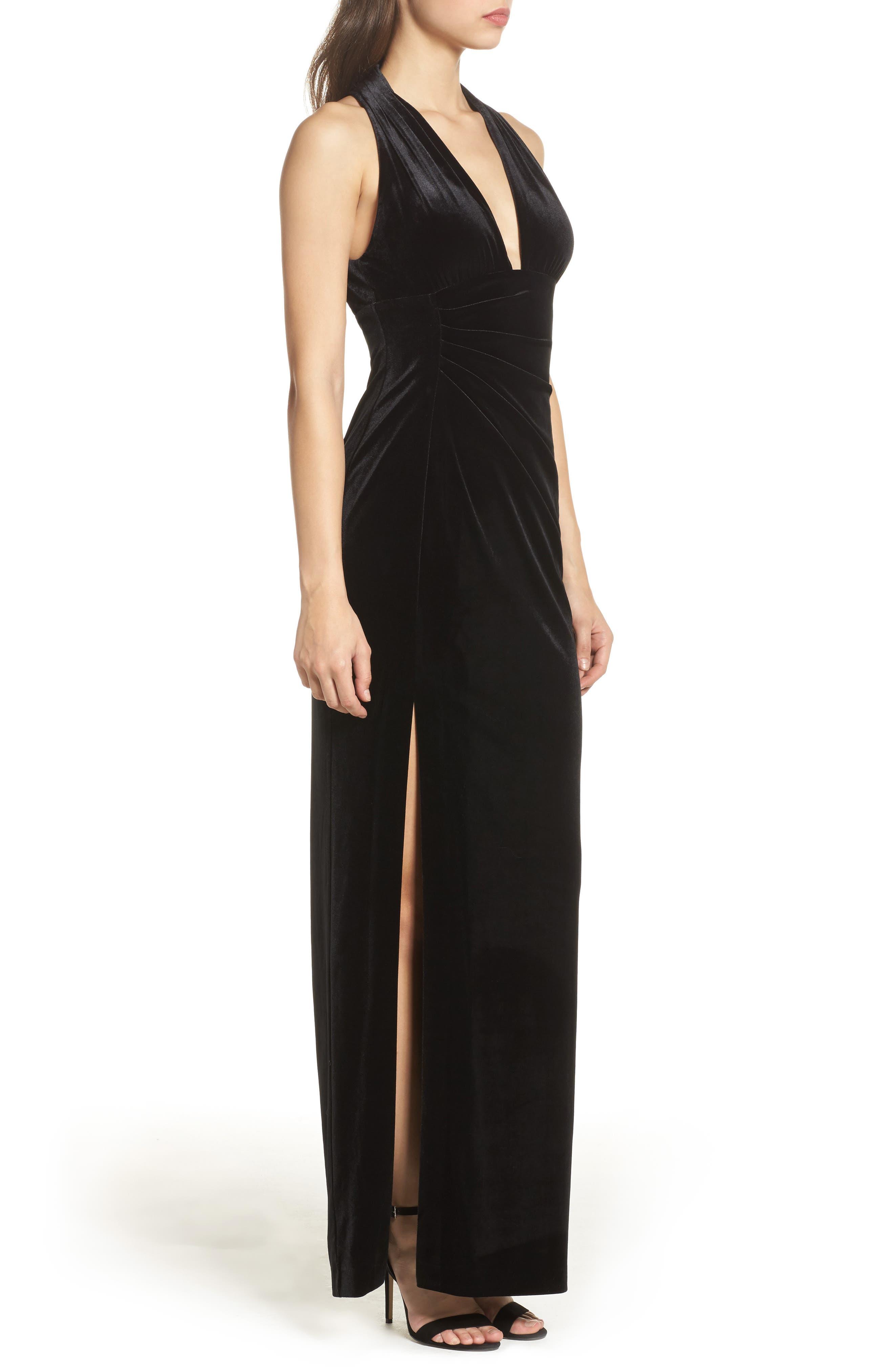 Plunging Side Drape Velvet Gown,                             Alternate thumbnail 3, color,                             001