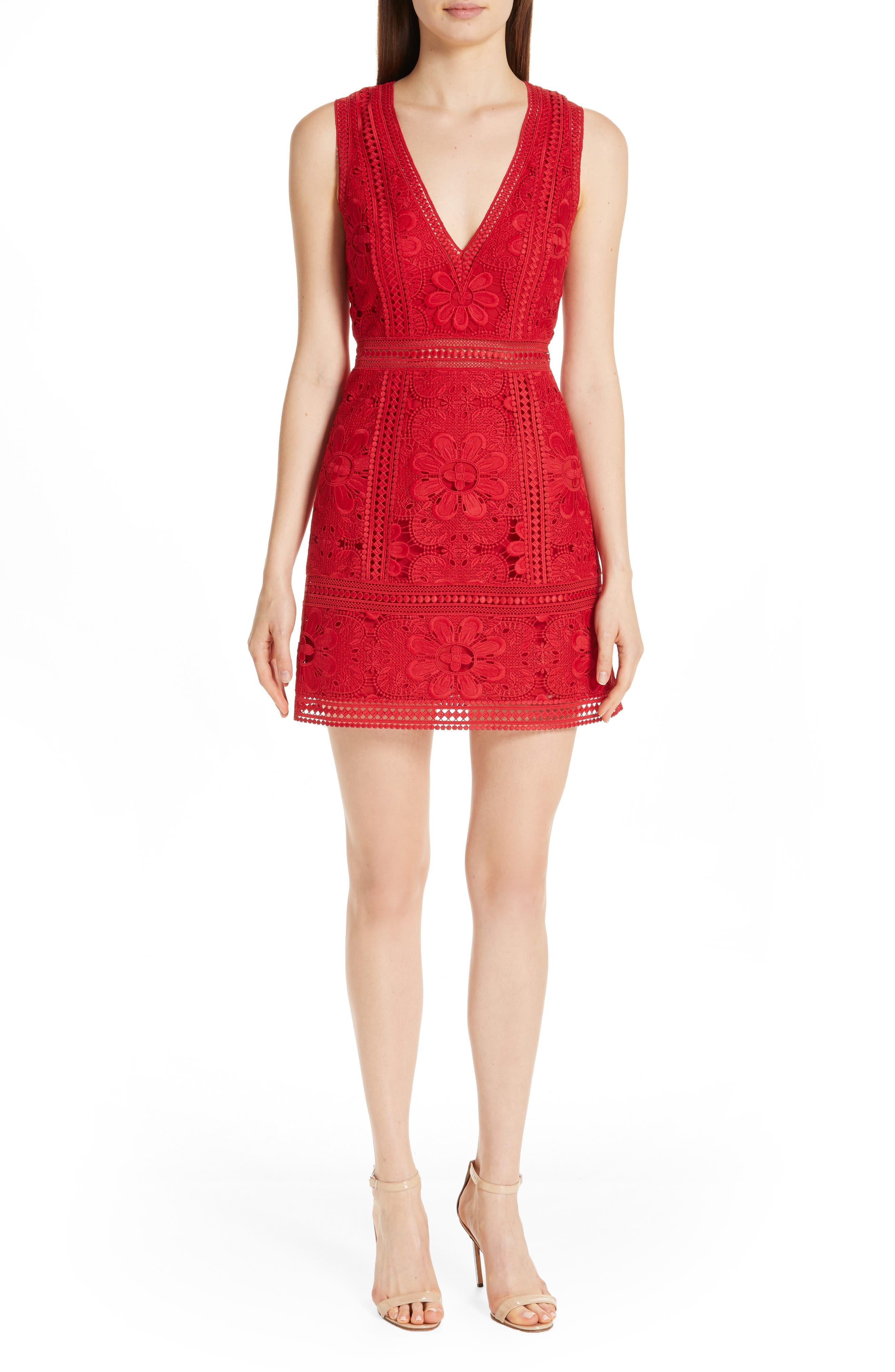 Alice + Olivia Zula Lace Minidress, Red