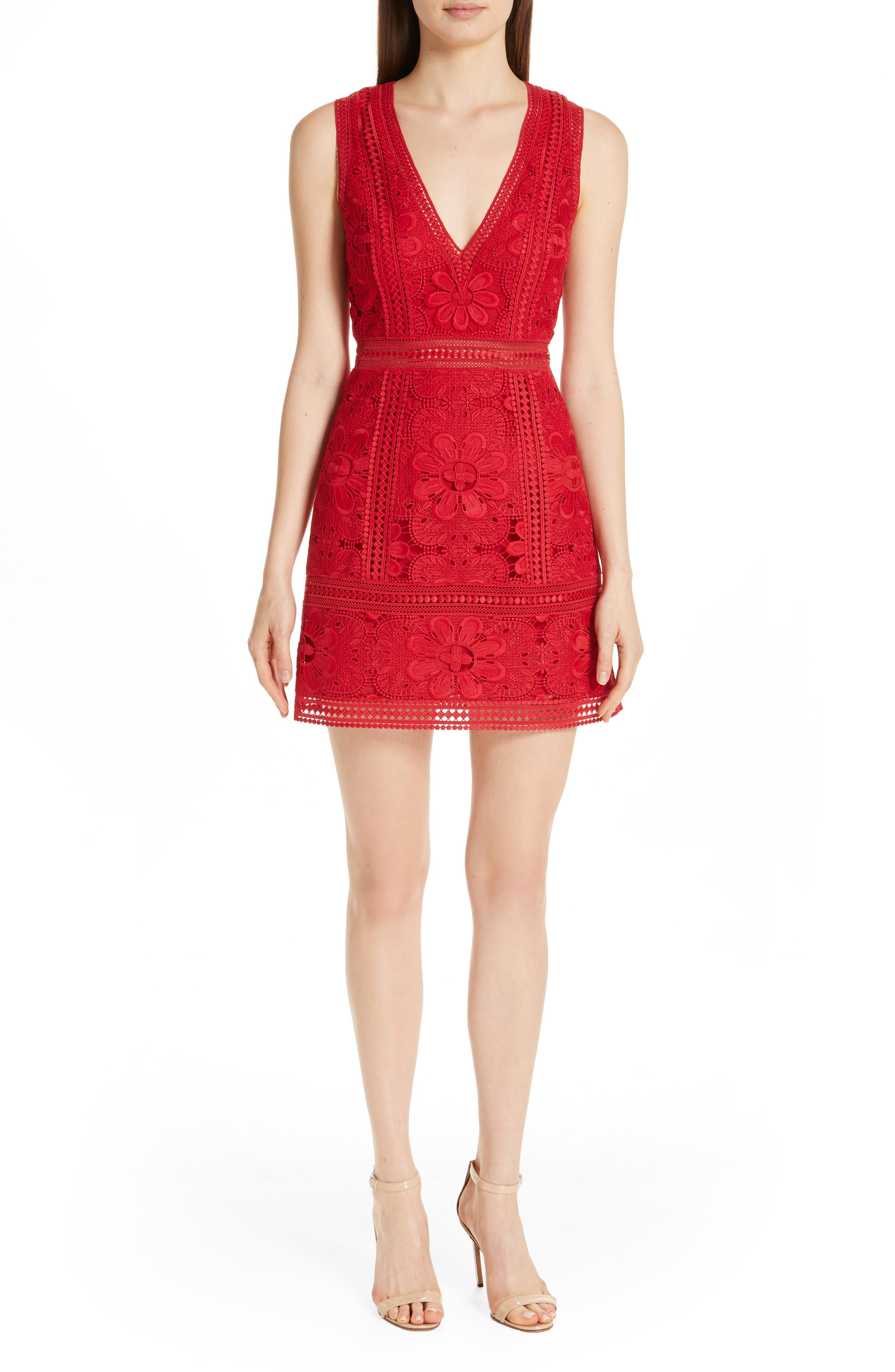 Zula Floral Eyelet Lace A-Line Dress in Ruby