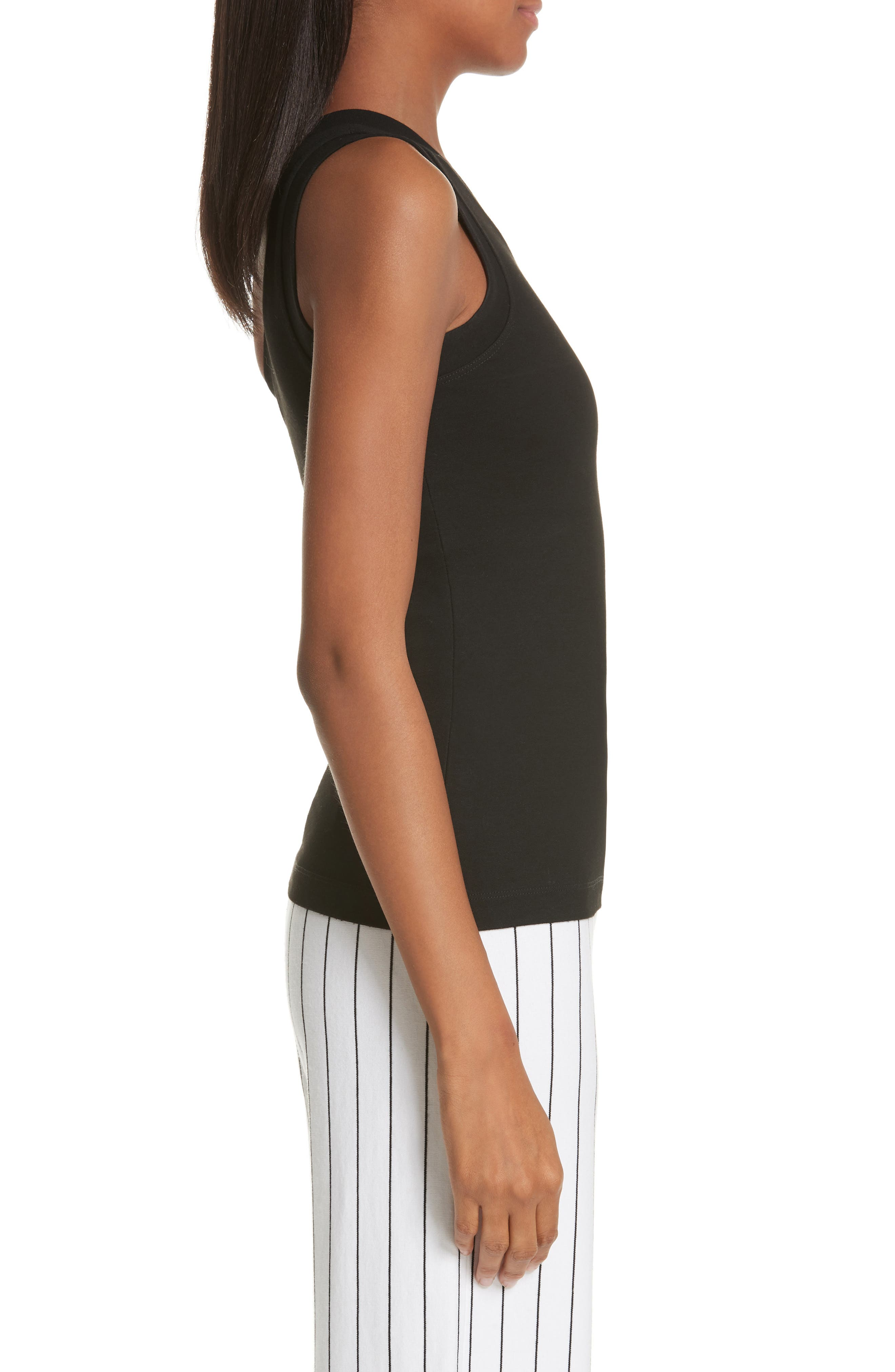 One-Shoulder Jersey Top,                             Alternate thumbnail 3, color,                             BLACK