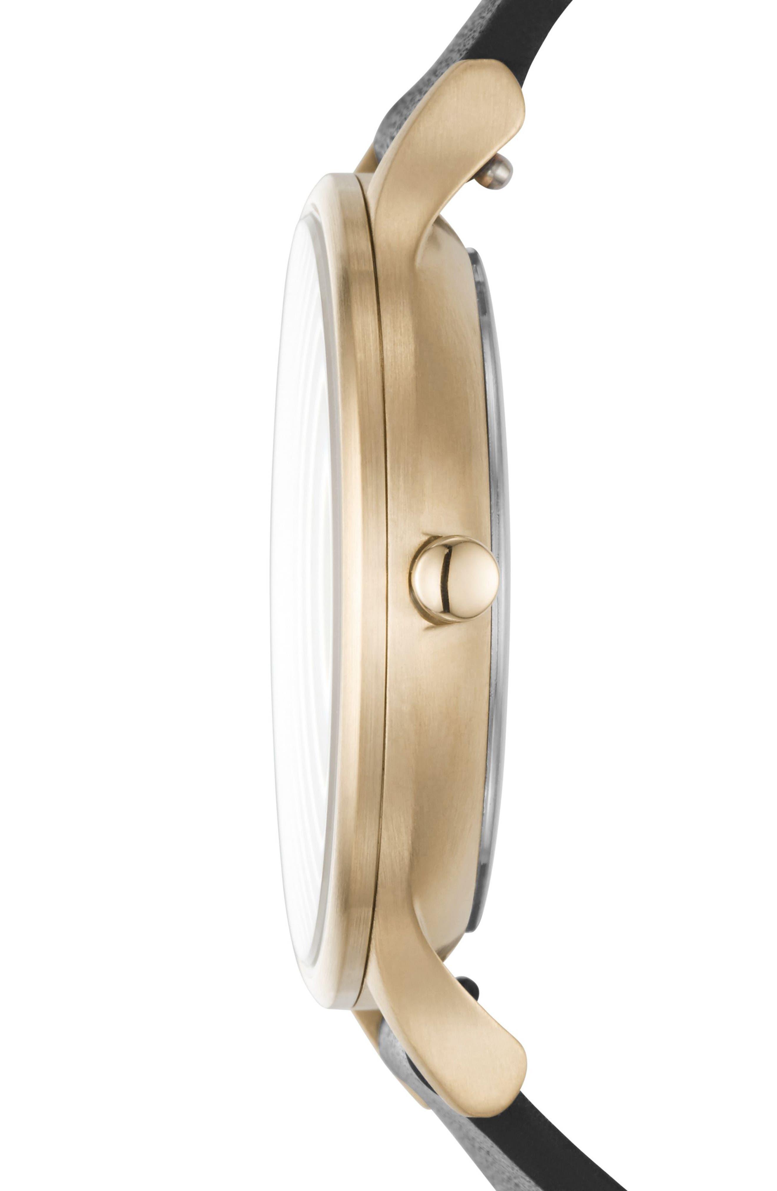 SKAGEN,                             Anita Leather Strap Watch, 34mm,                             Alternate thumbnail 3, color,                             001