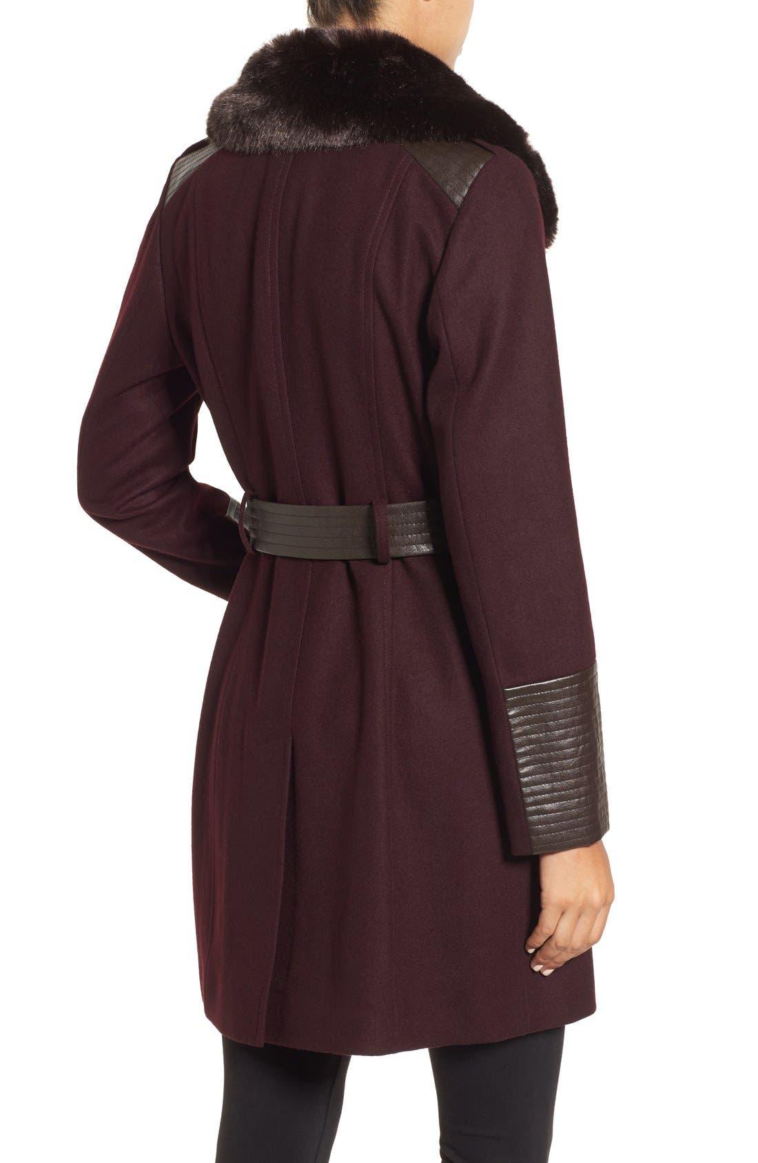 Faux Leather & Faux Fur Trim Belted Wool Blend Coat,                             Alternate thumbnail 16, color,
