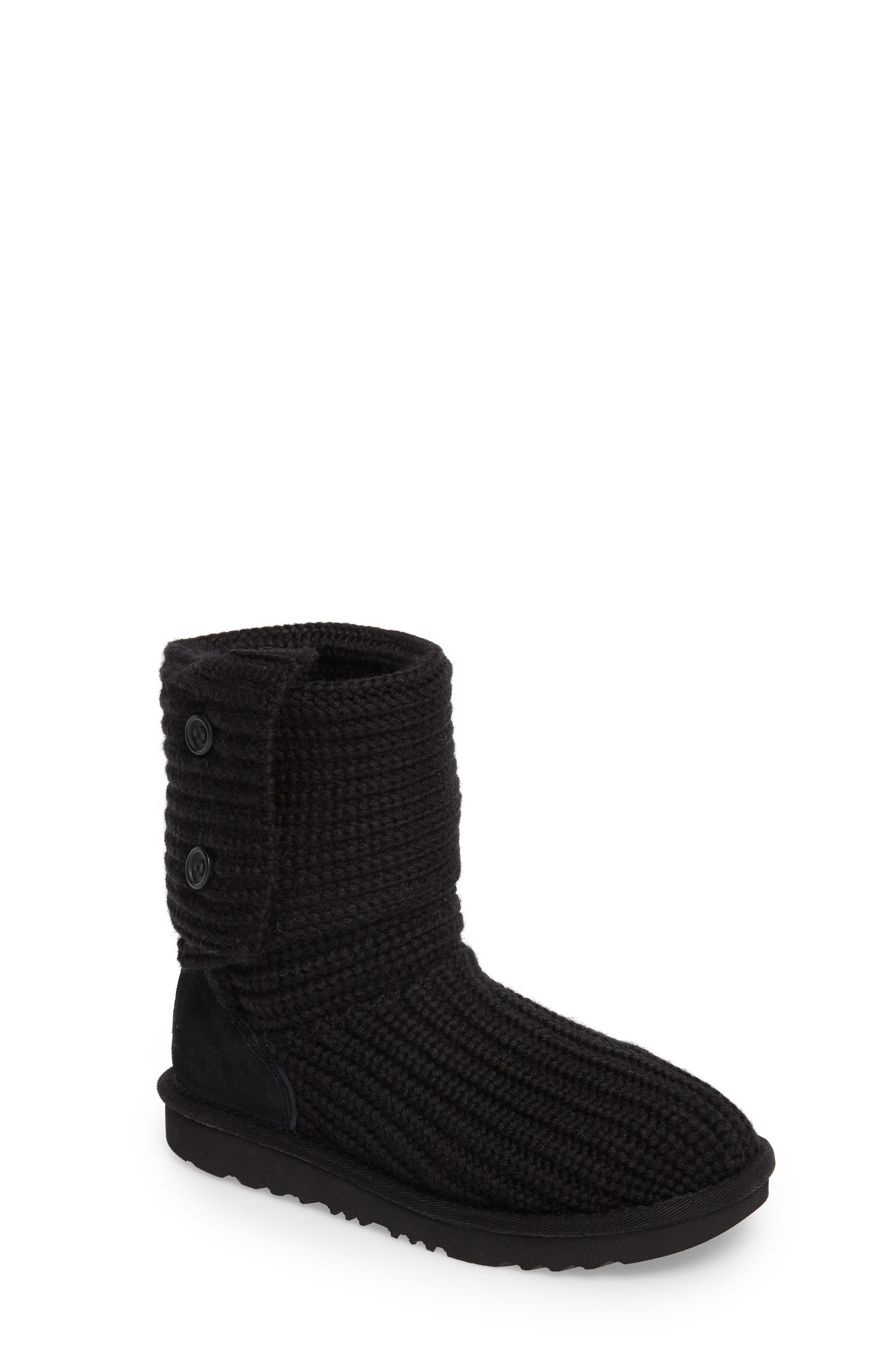 Cardy II Cableknit Boot,                         Main,                         color, BLACK