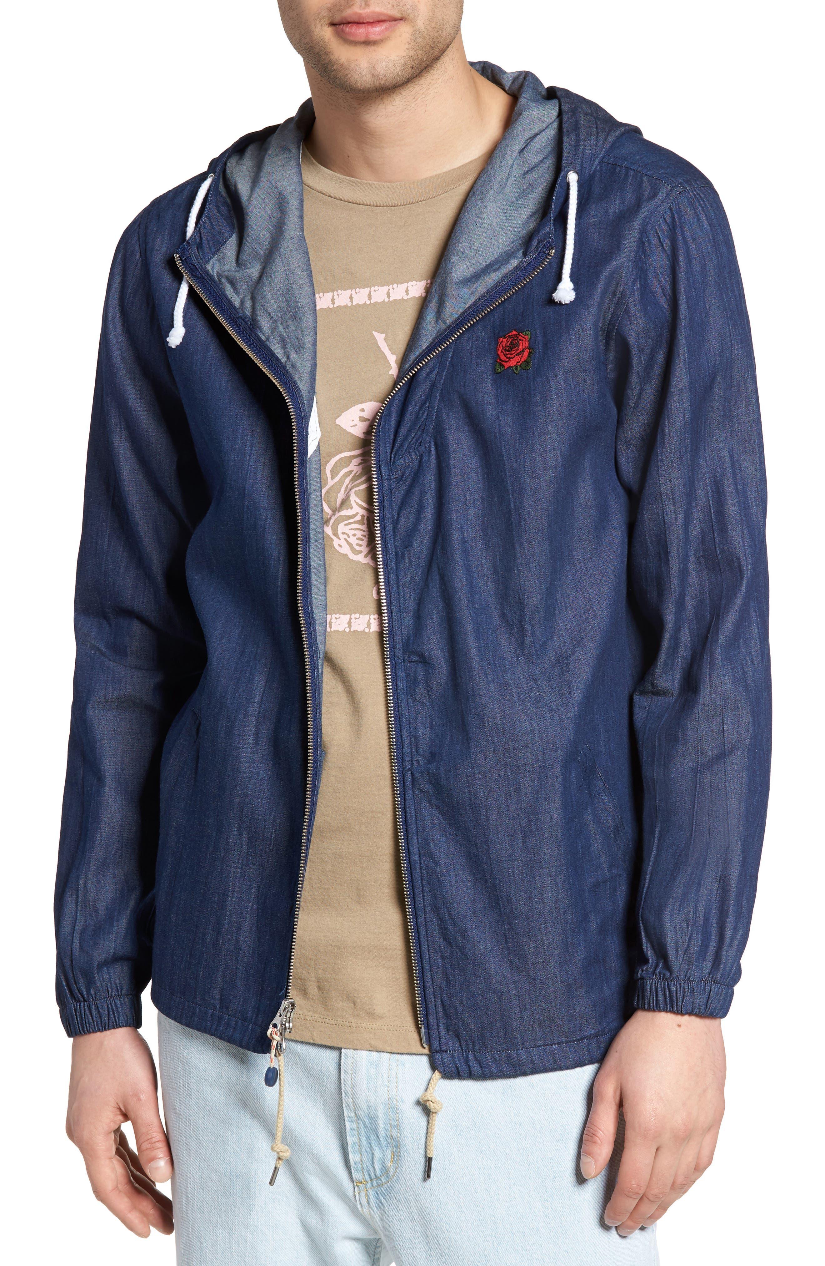 Flower District Hooded Zip Denim Jacket,                         Main,                         color, 409
