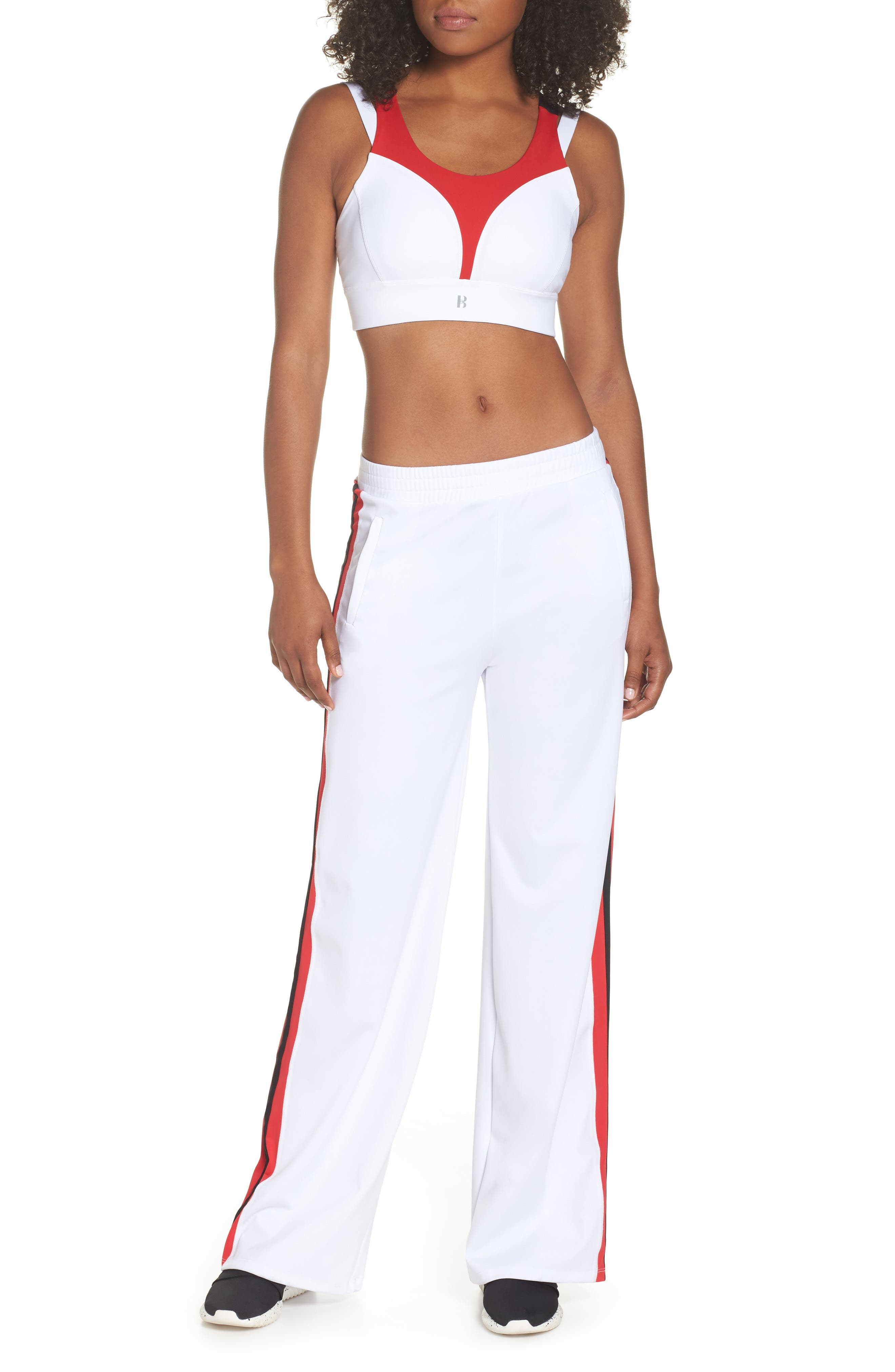 BoomBoom Athletica Compression Support Sports Bra,                             Alternate thumbnail 8, color,                             WHITE/ RED