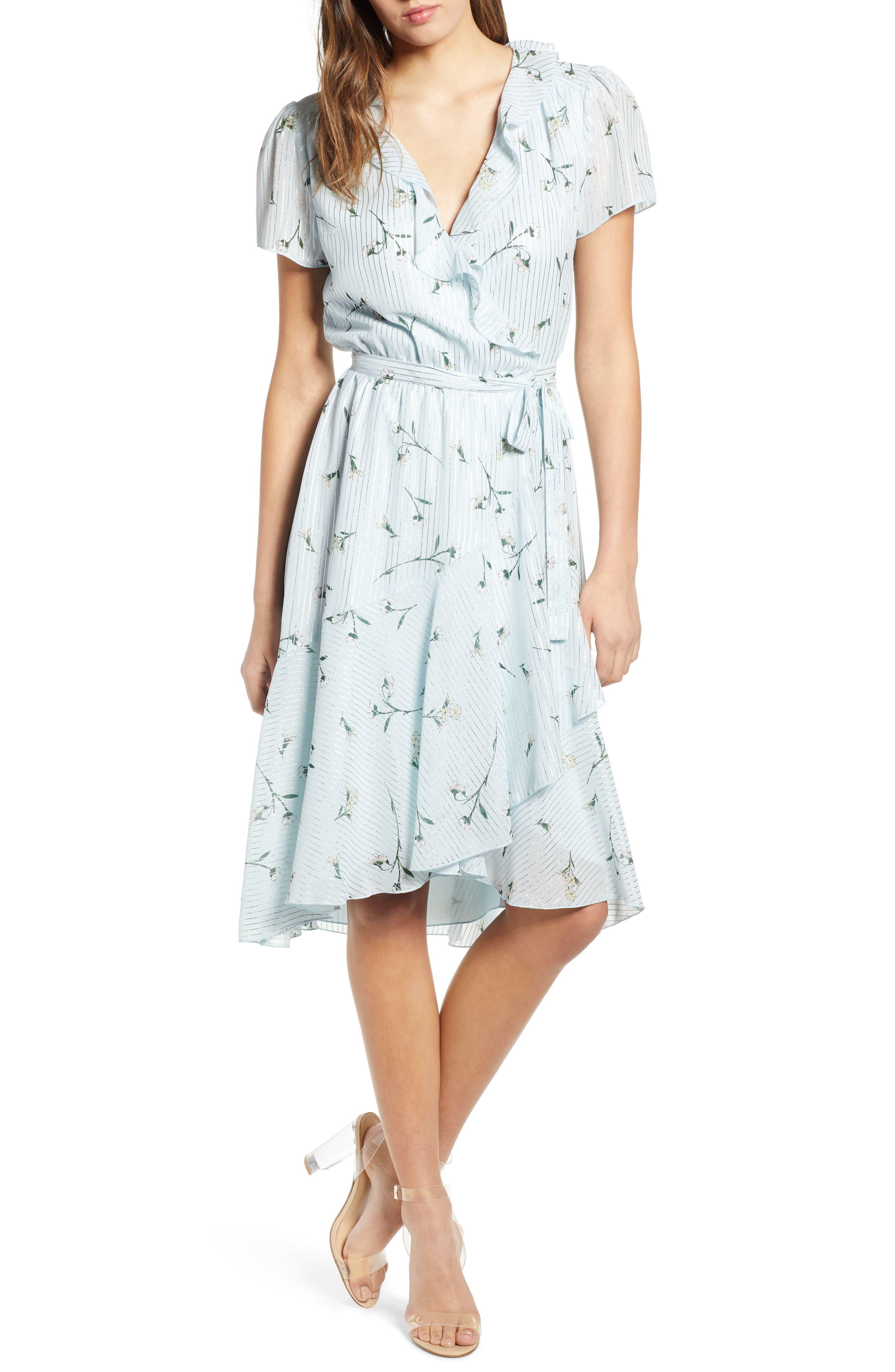 Sutton Wrap Dress,                             Main thumbnail 1, color,                             SKY BLUE FLORAL
