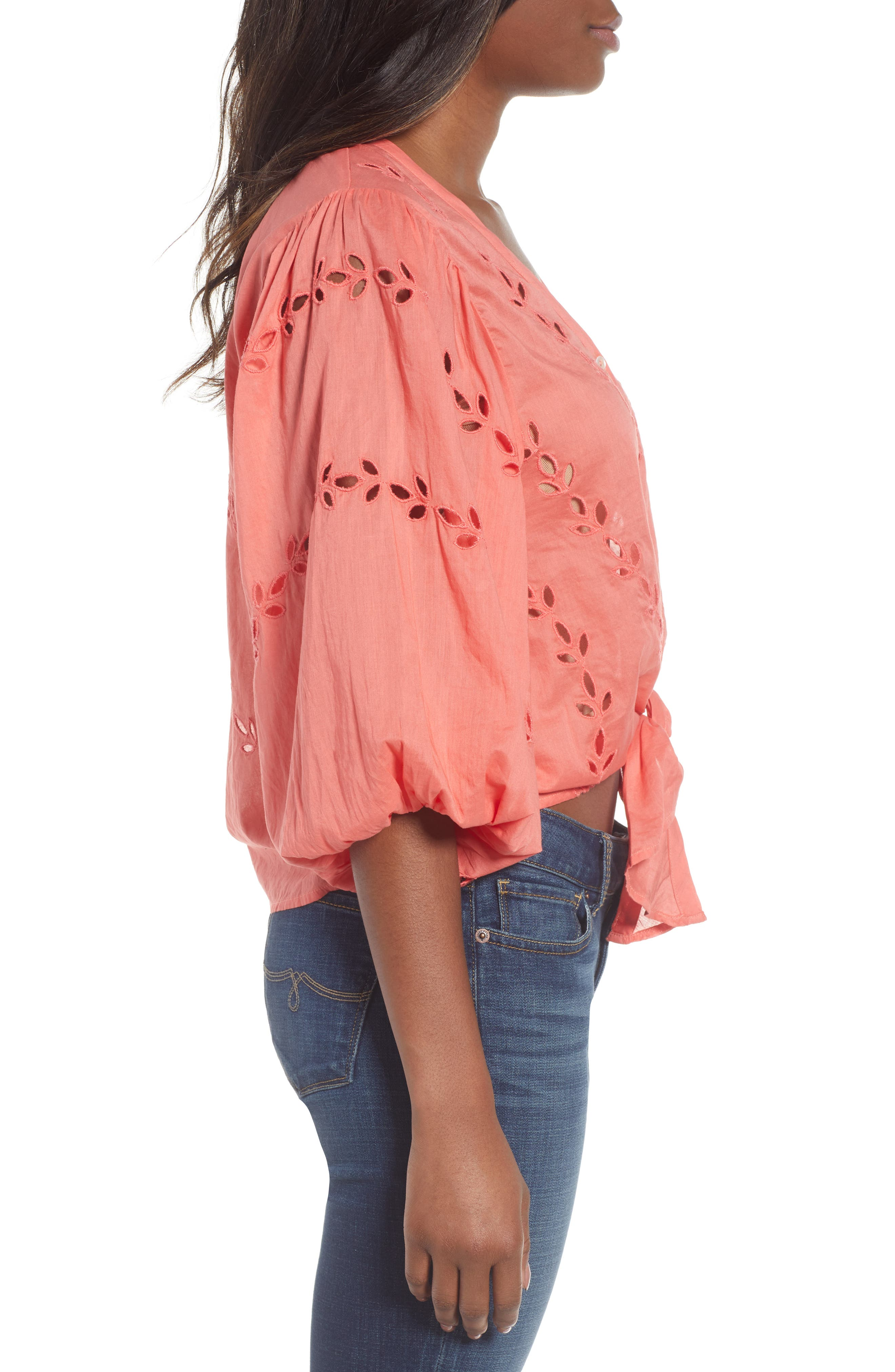 Eyelet Tie Front Cotton Peasant Blouse,                             Alternate thumbnail 3, color,                             950