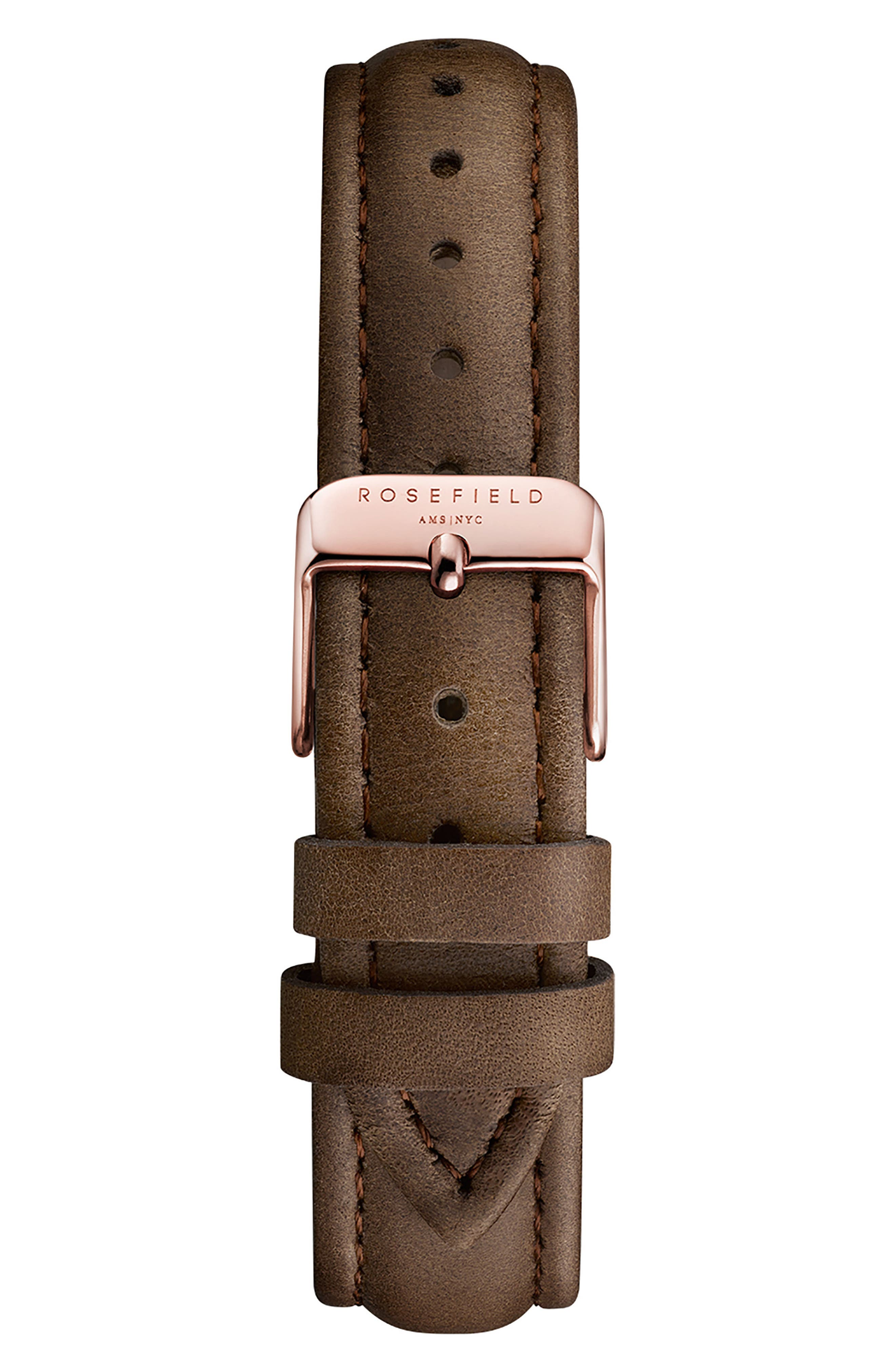 ROSEFIELD,                             Bowery Leather Strap Watch, 38mm,                             Alternate thumbnail 2, color,                             BROWN/ WHITE/ ROSE GOLD