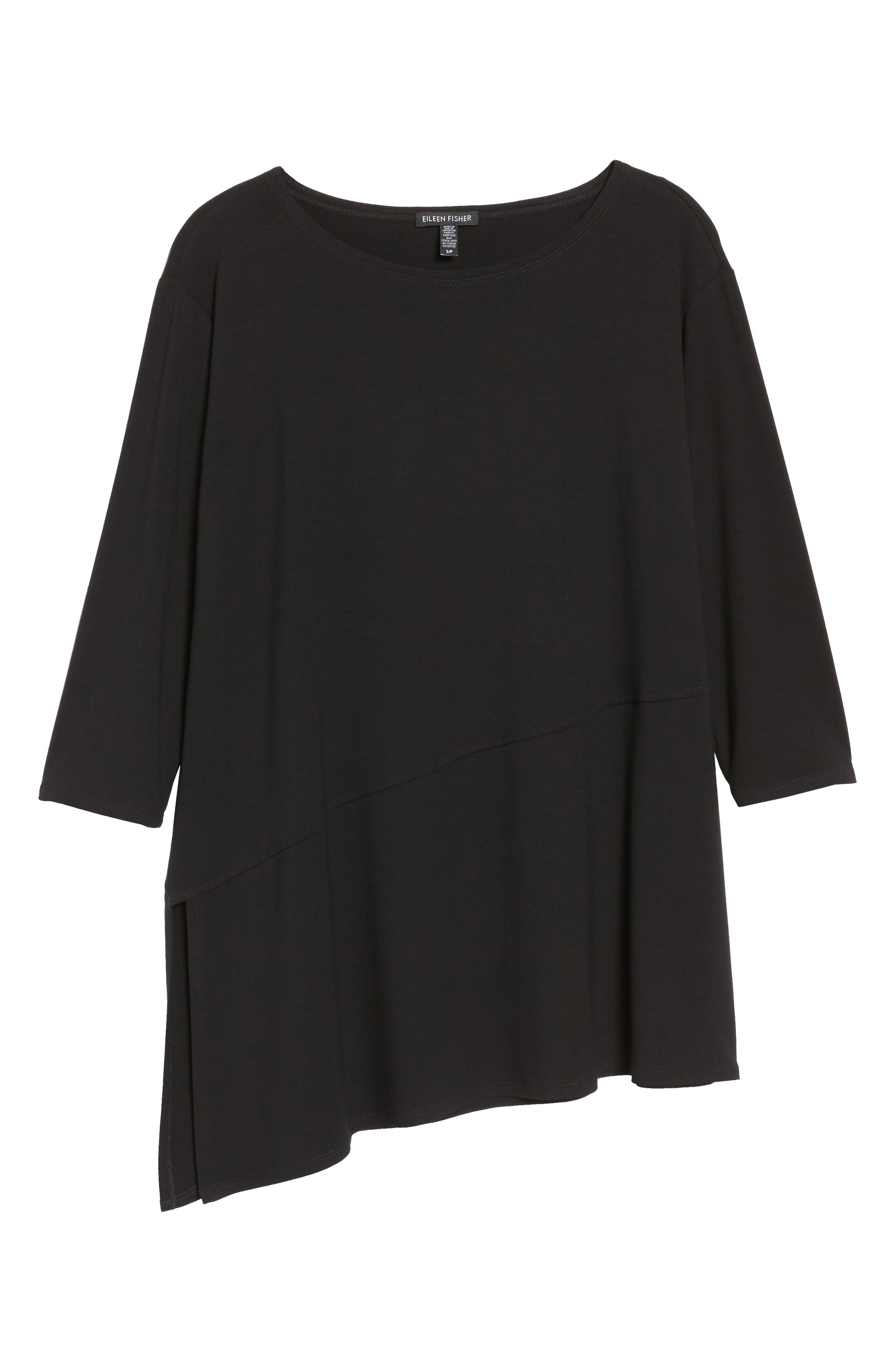 EILEEN FISHER,                             Asymmetrical Jersey Top,                             Alternate thumbnail 6, color,                             001