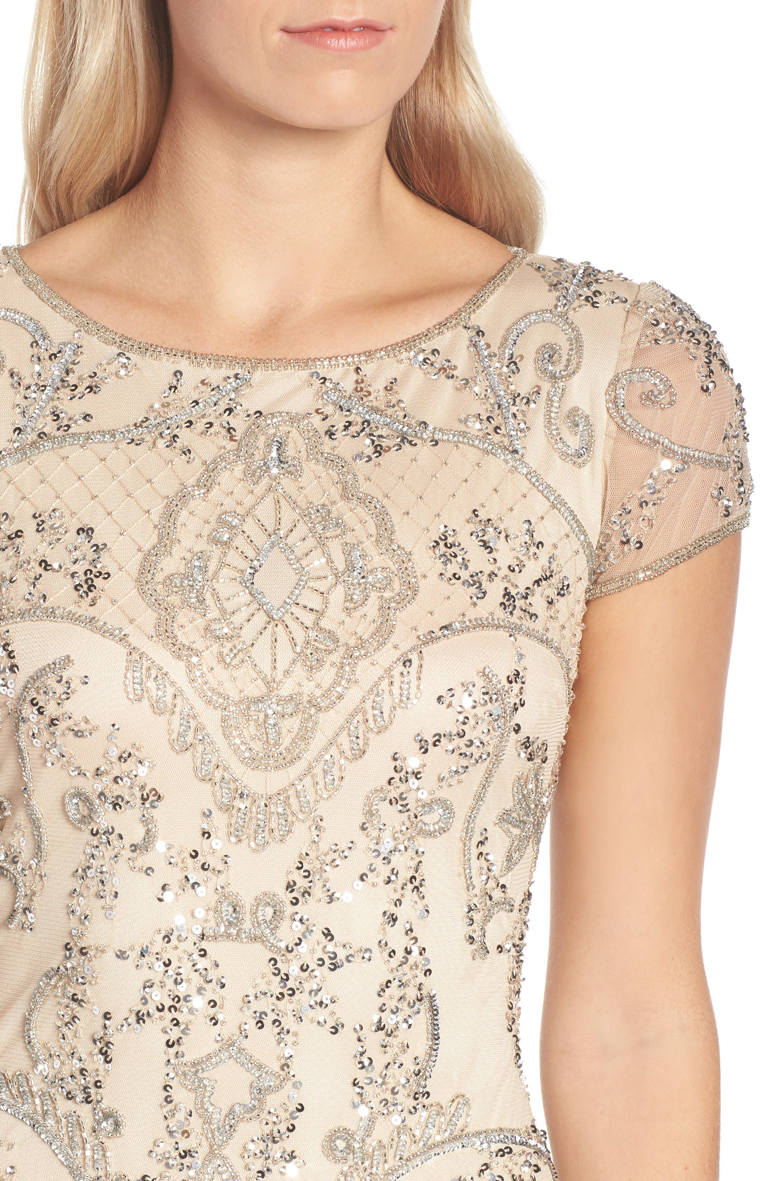 Embellished Mesh Gown,                             Alternate thumbnail 4, color,                             CHAMPAGNE/ SILVER