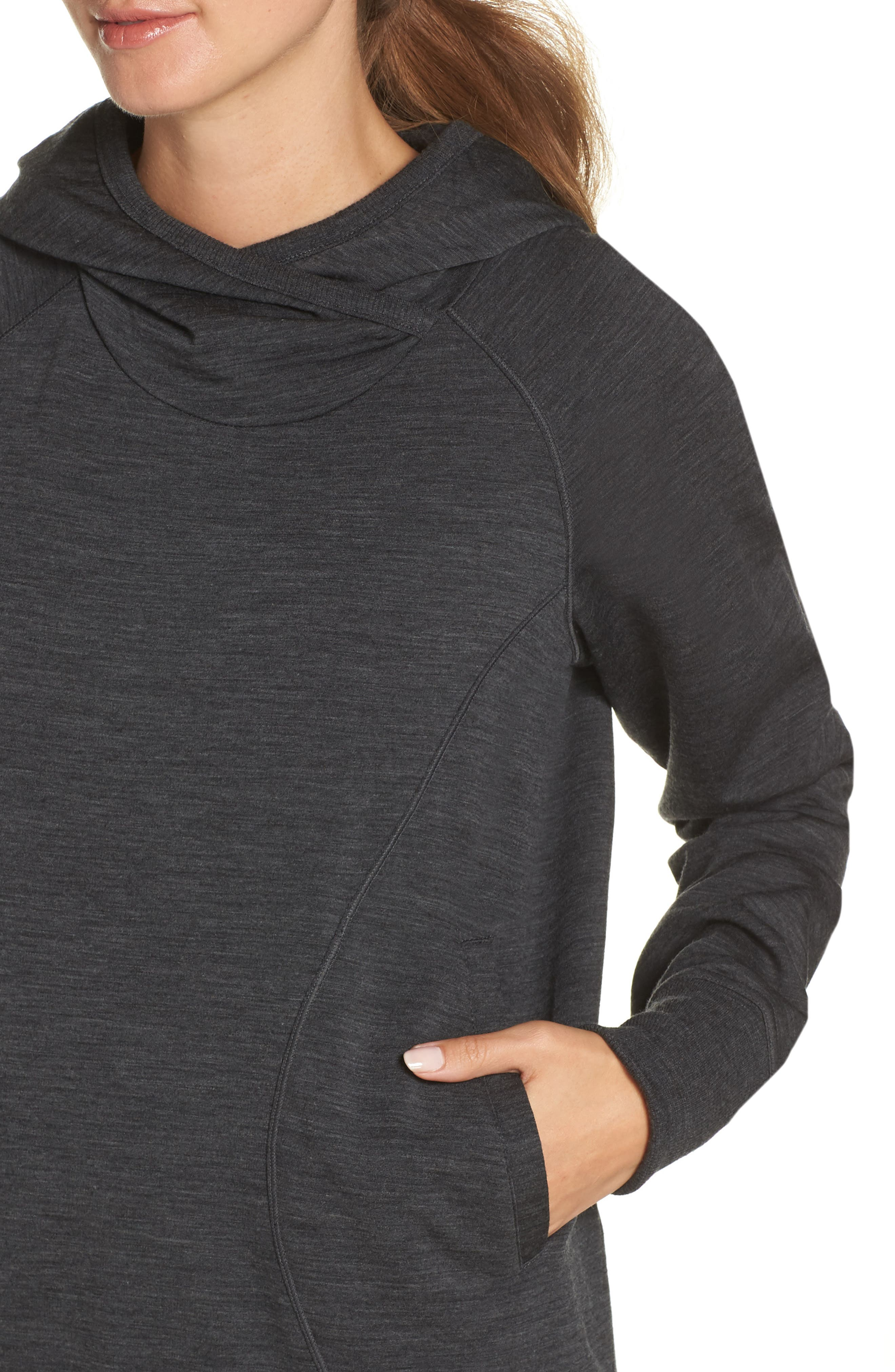 ICEBREAKER,                             Dia RealFLEECE<sup>®</sup> Pullover Hoodie,                             Alternate thumbnail 5, color,                             JET HEATHER