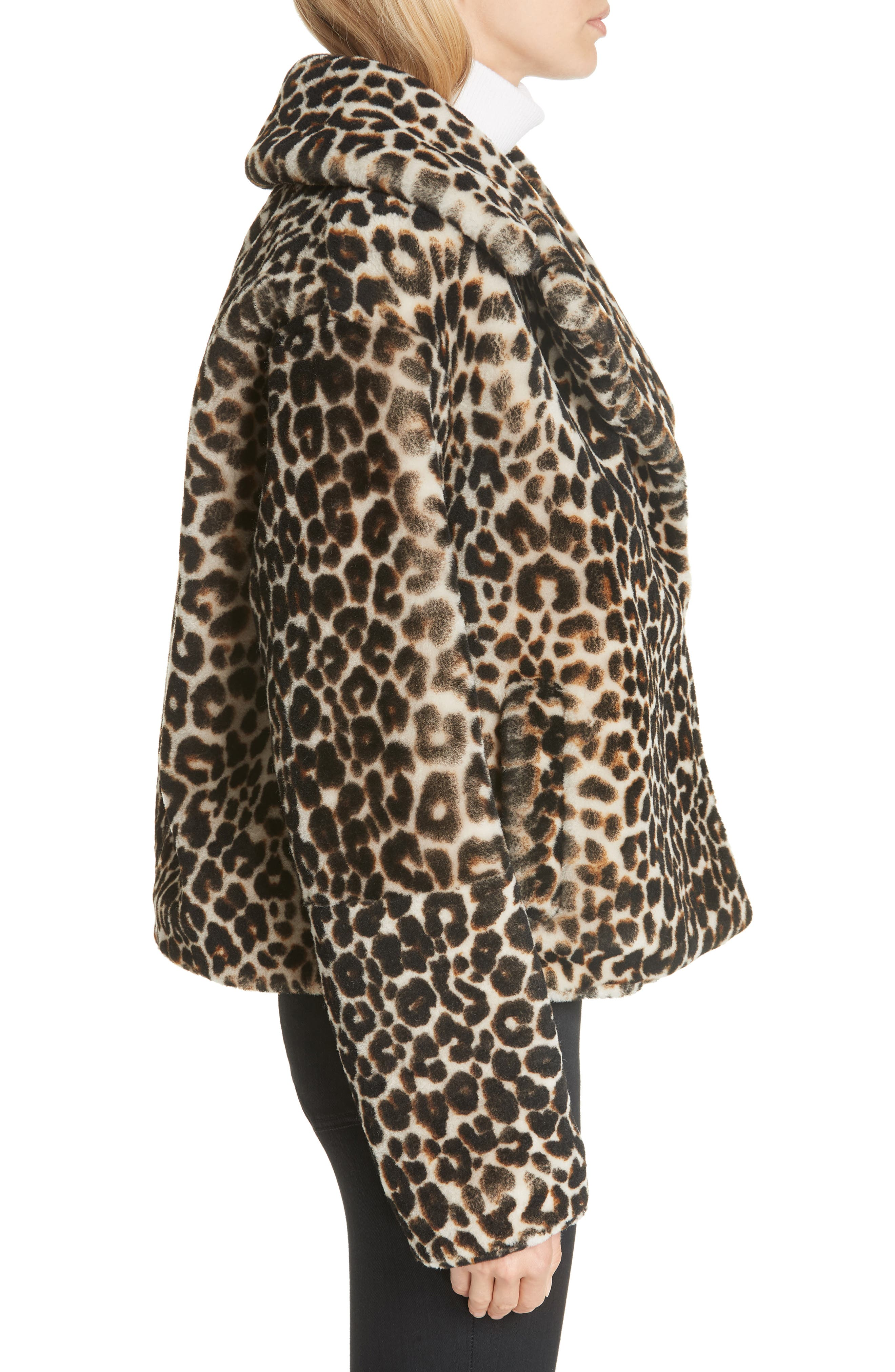 A.L.C.,                             Grant Leopard Print Genuine Shearling Jacket,                             Alternate thumbnail 3, color,                             900