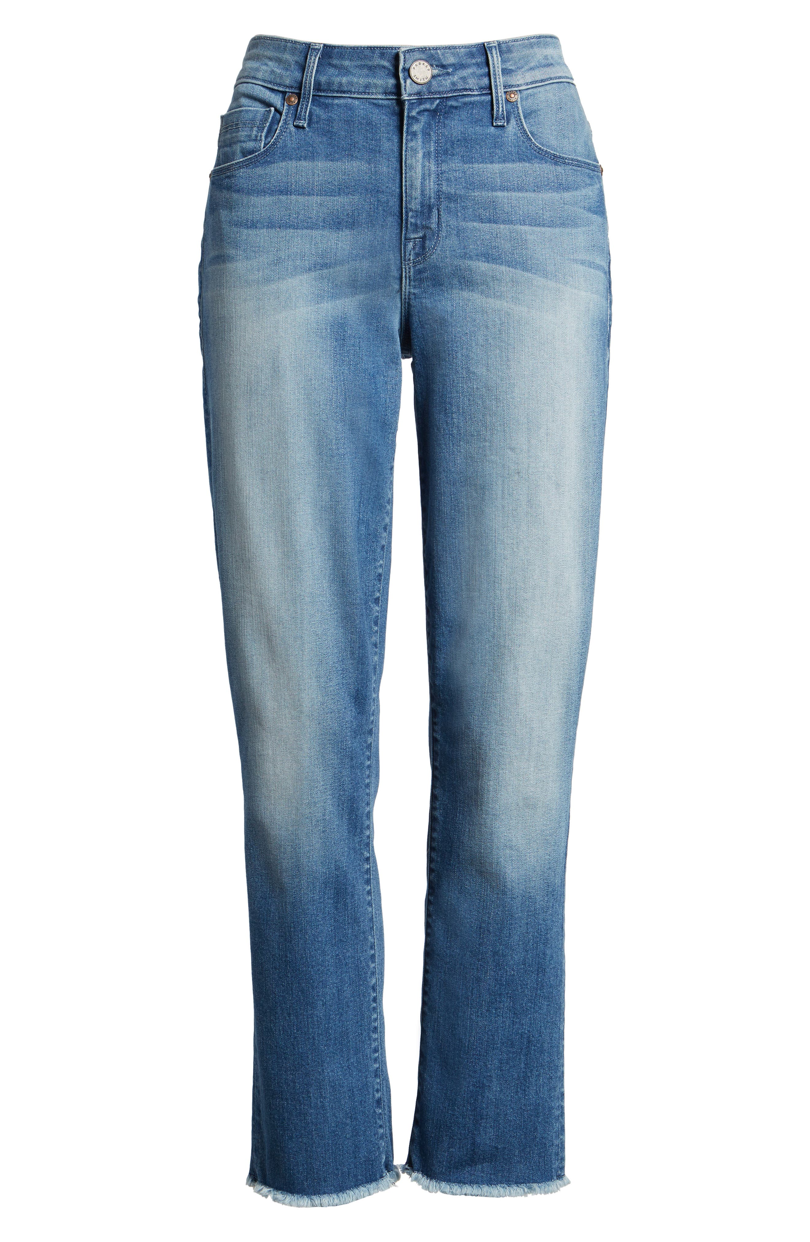 Raw Edge Ankle Straight Jeans,                             Alternate thumbnail 6, color,                             402