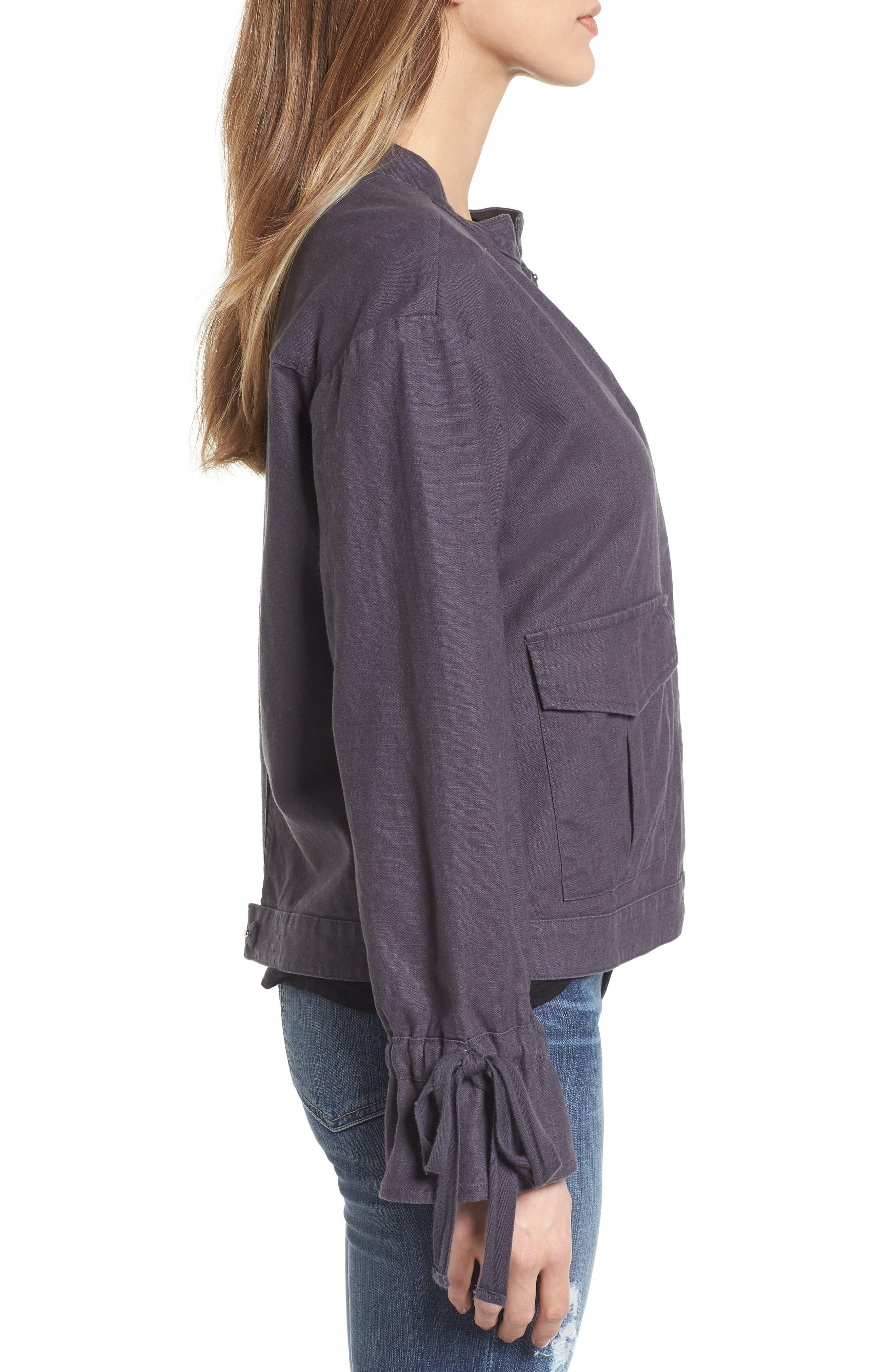 Tie Sleeve Linen & Cotton Jacket,                             Alternate thumbnail 3, color,                             030