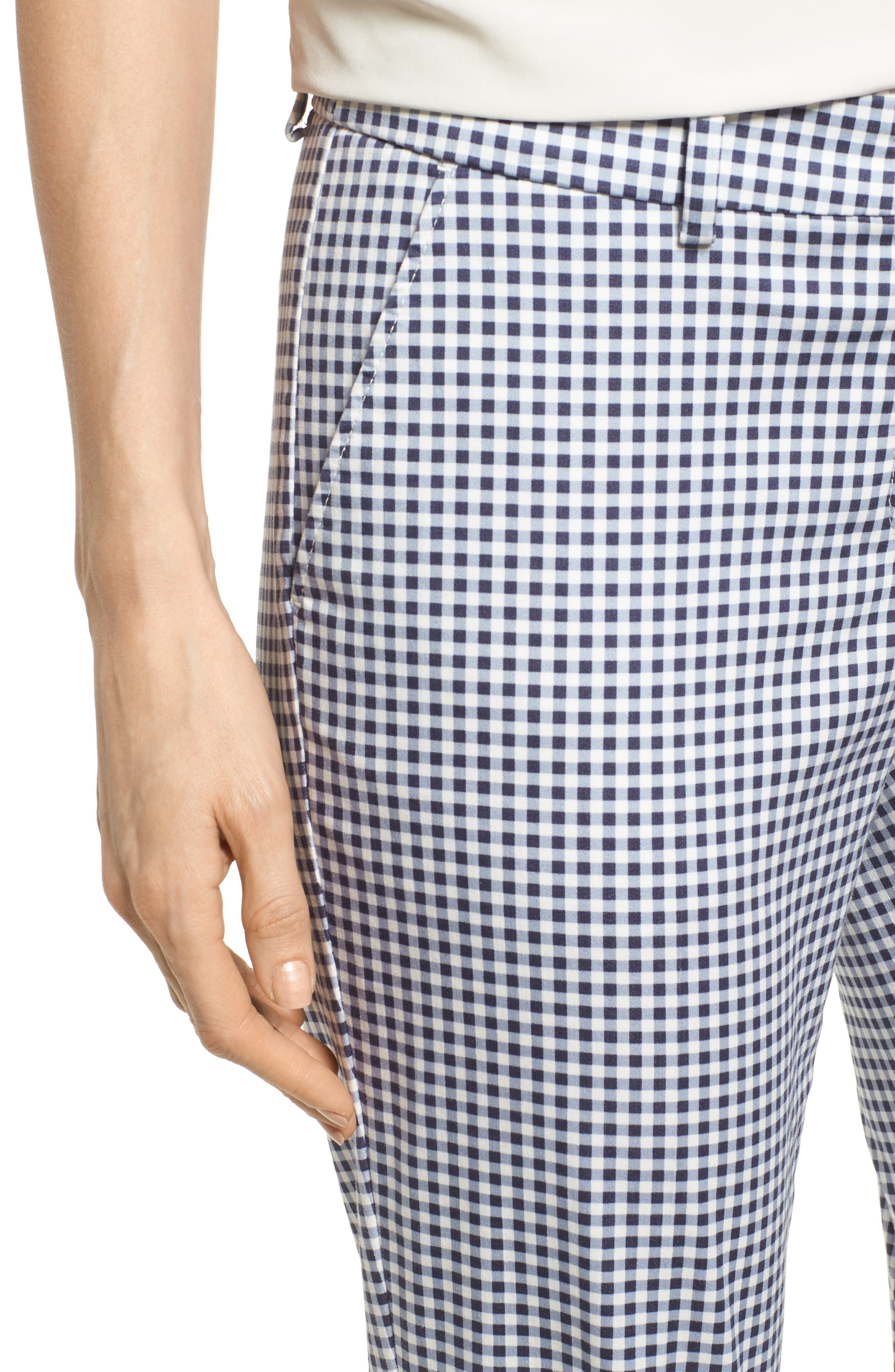 Maron Gingham Stretch Cotton Pants,                             Alternate thumbnail 4, color,                             OCEAN
