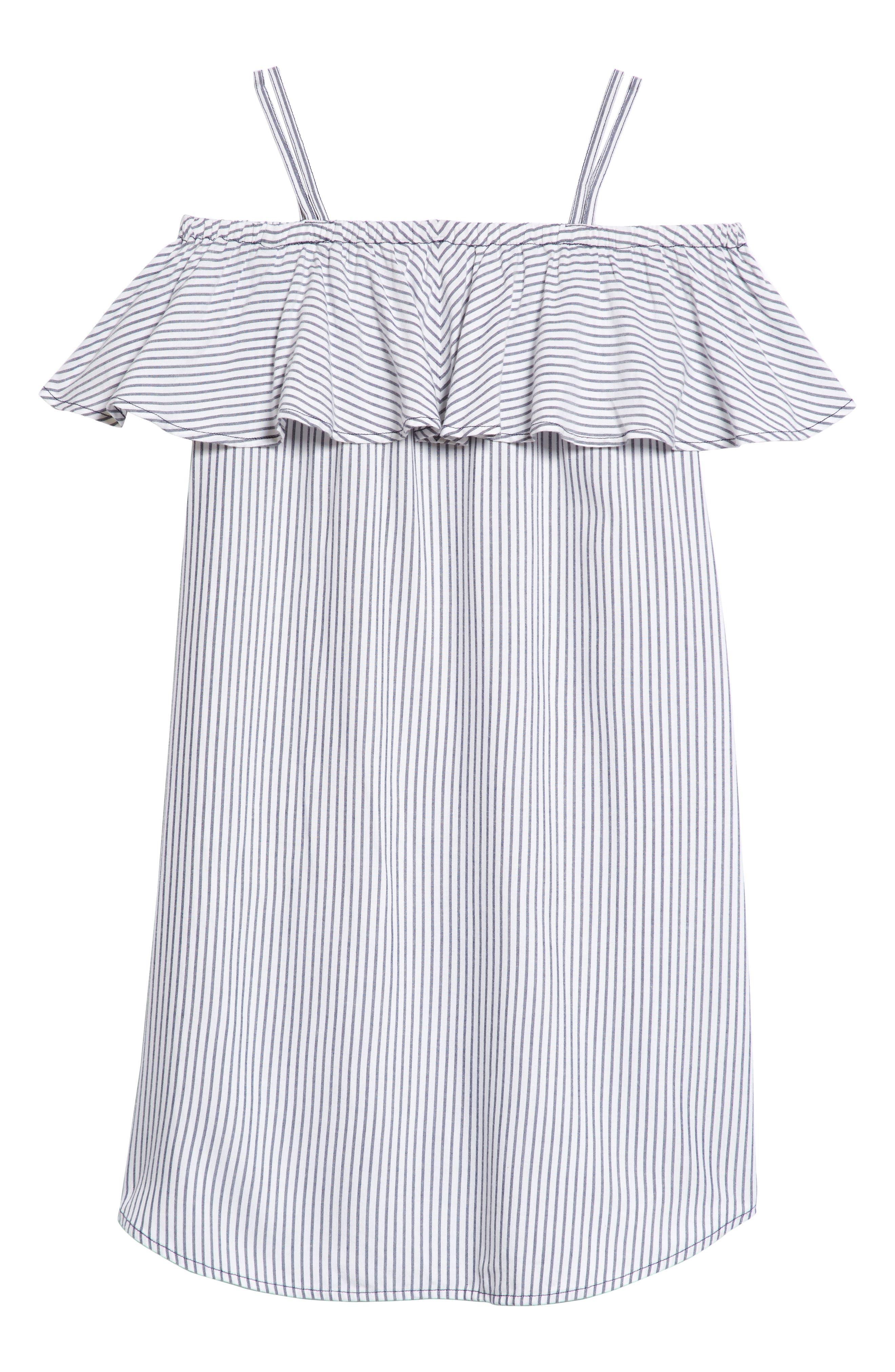 Ruffle Cold Shoulder Dress,                             Alternate thumbnail 2, color,                             100