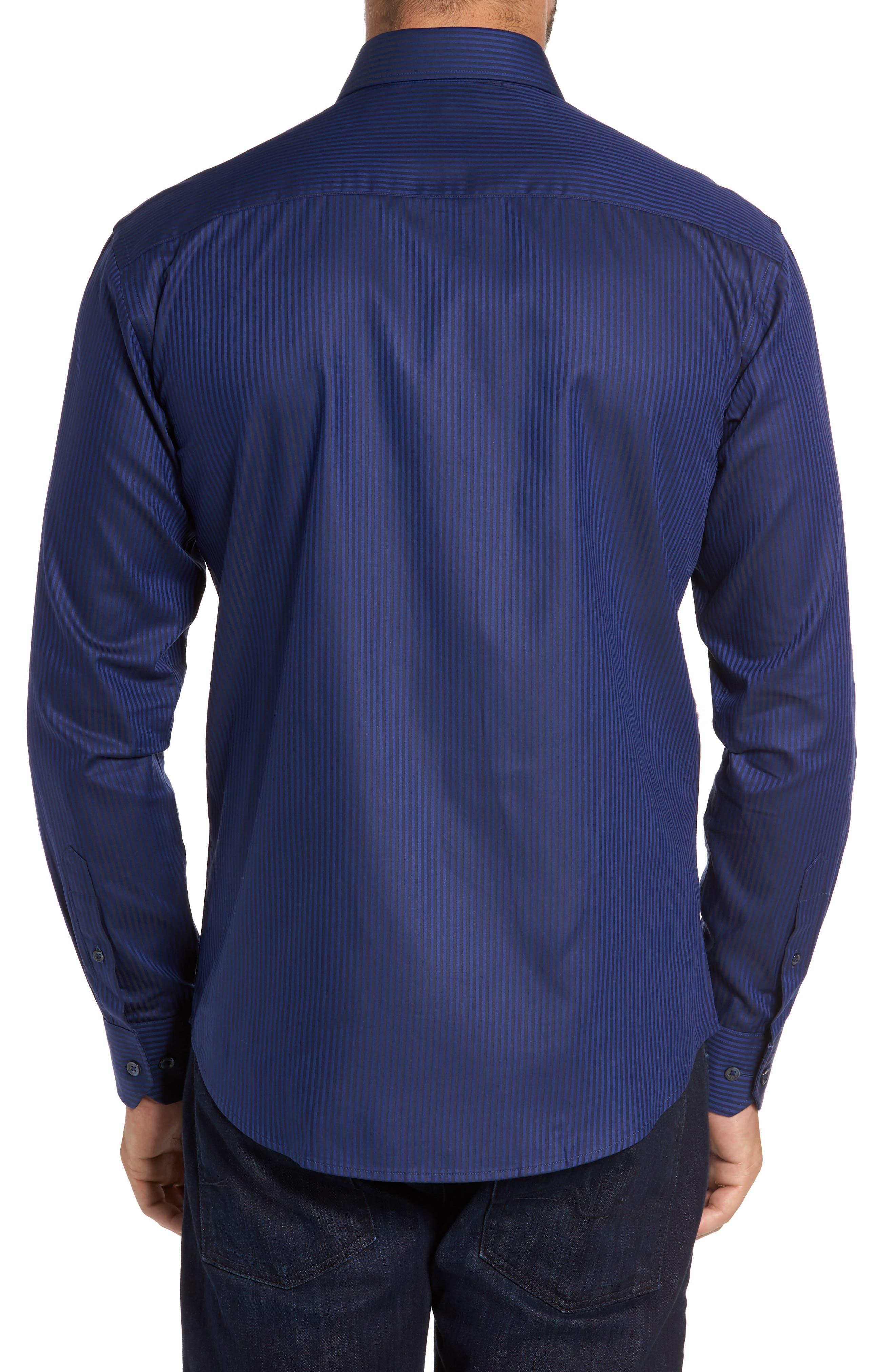 Trim Fit Pinstripe Sport Shirt,                             Alternate thumbnail 3, color,                             410