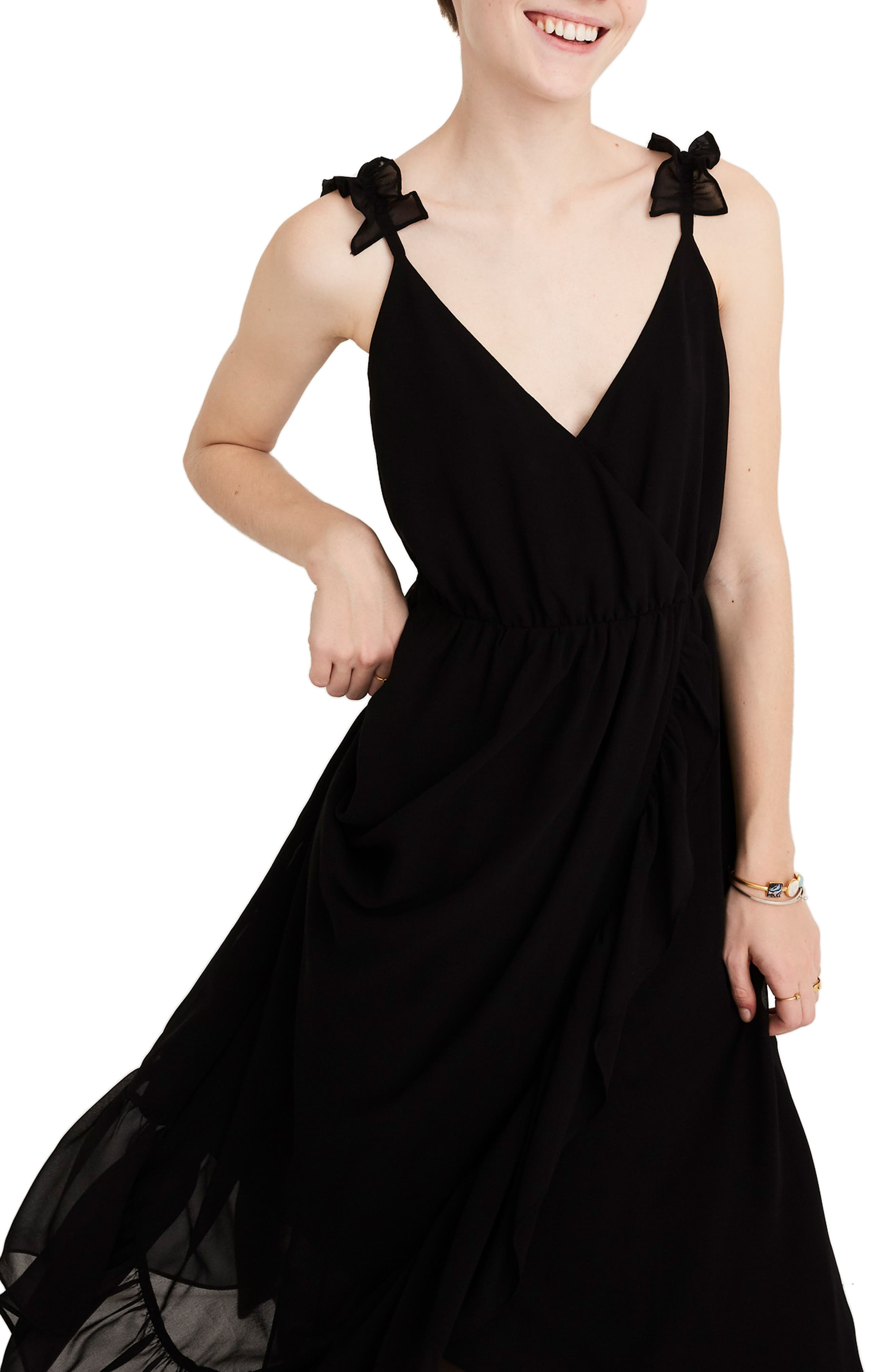 Madewell Ruffle Strap Faux Wrap Maxi Dress, Black