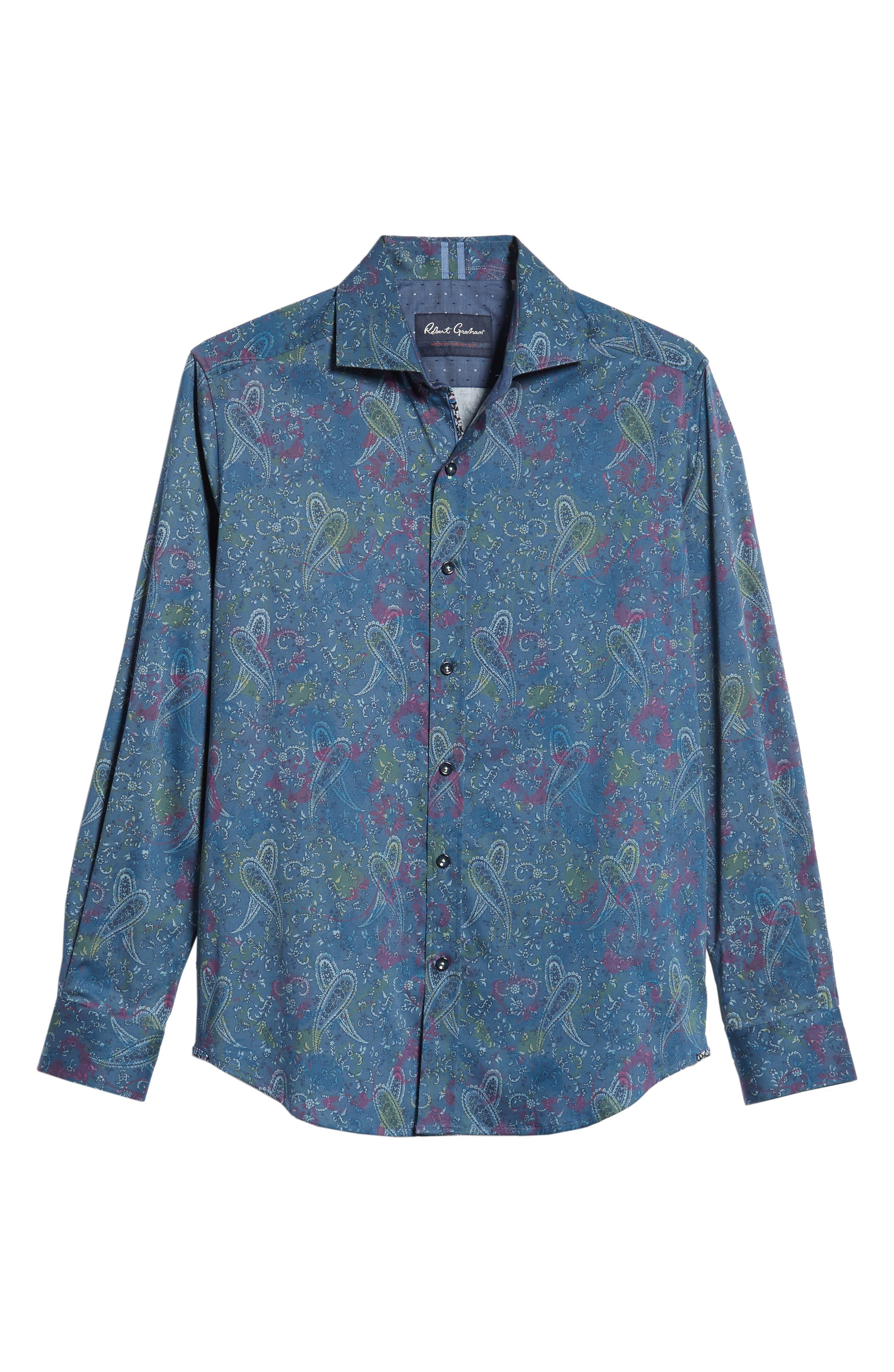 Carver Tailored Fit Sport Shirt,                             Alternate thumbnail 5, color,                             BLUE