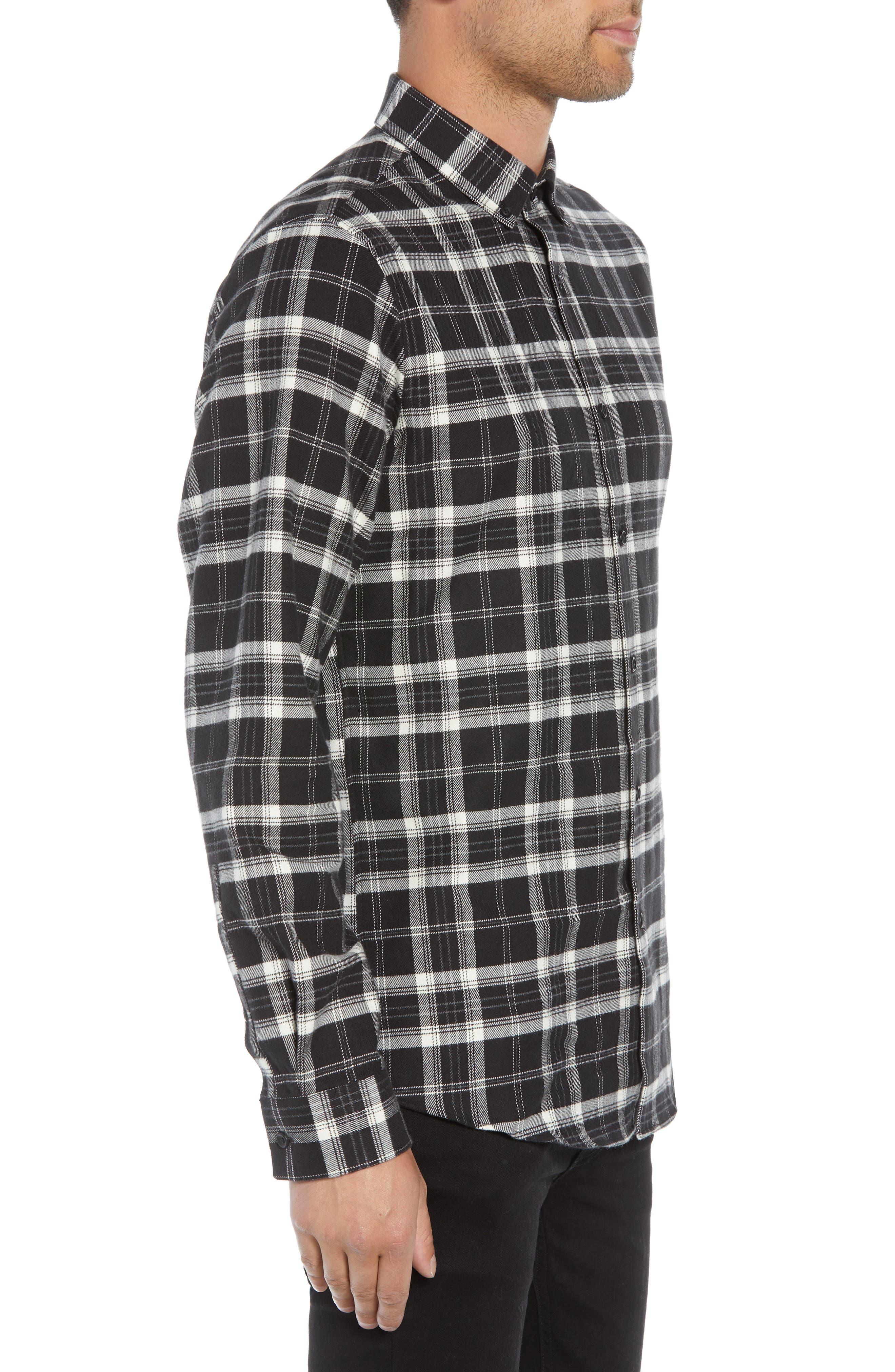Slim Fit Mini Collar Plaid Flannel Sport Shirt,                             Alternate thumbnail 3, color,                             001