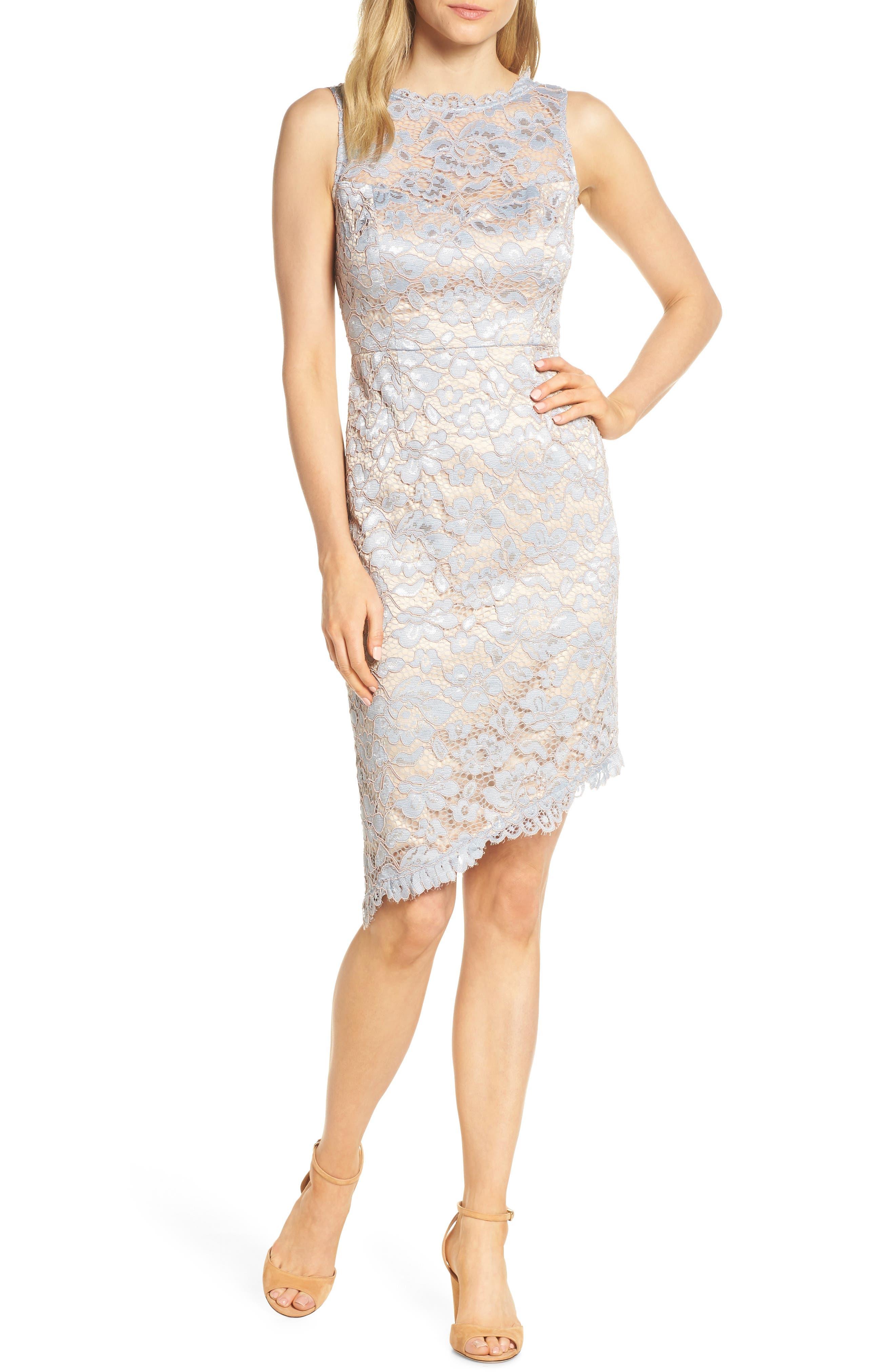 Eliza J Lace Sheath Dress, Grey