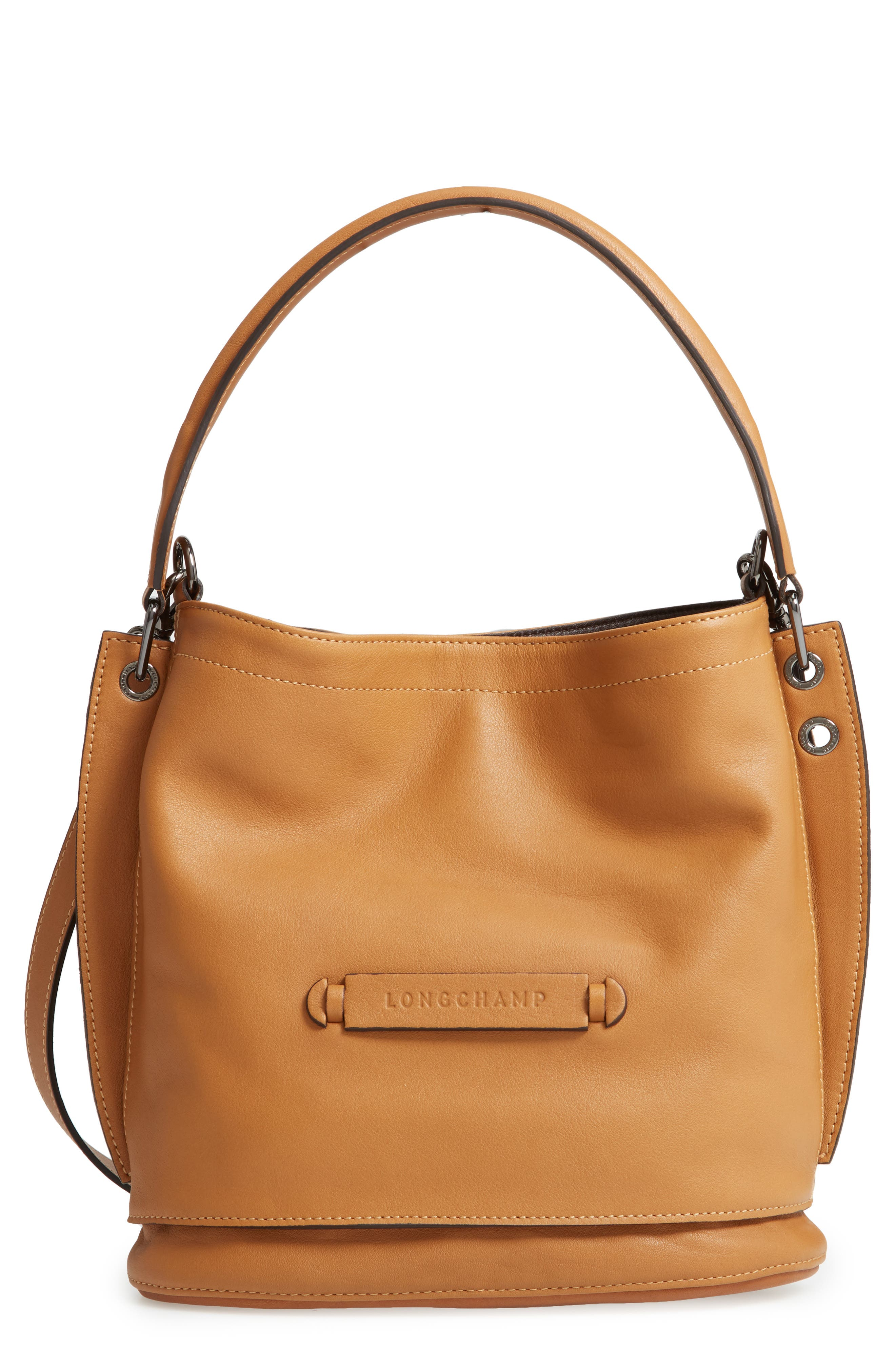 3D Leather Bucket Bag,                             Main thumbnail 1, color,                             NATURAL
