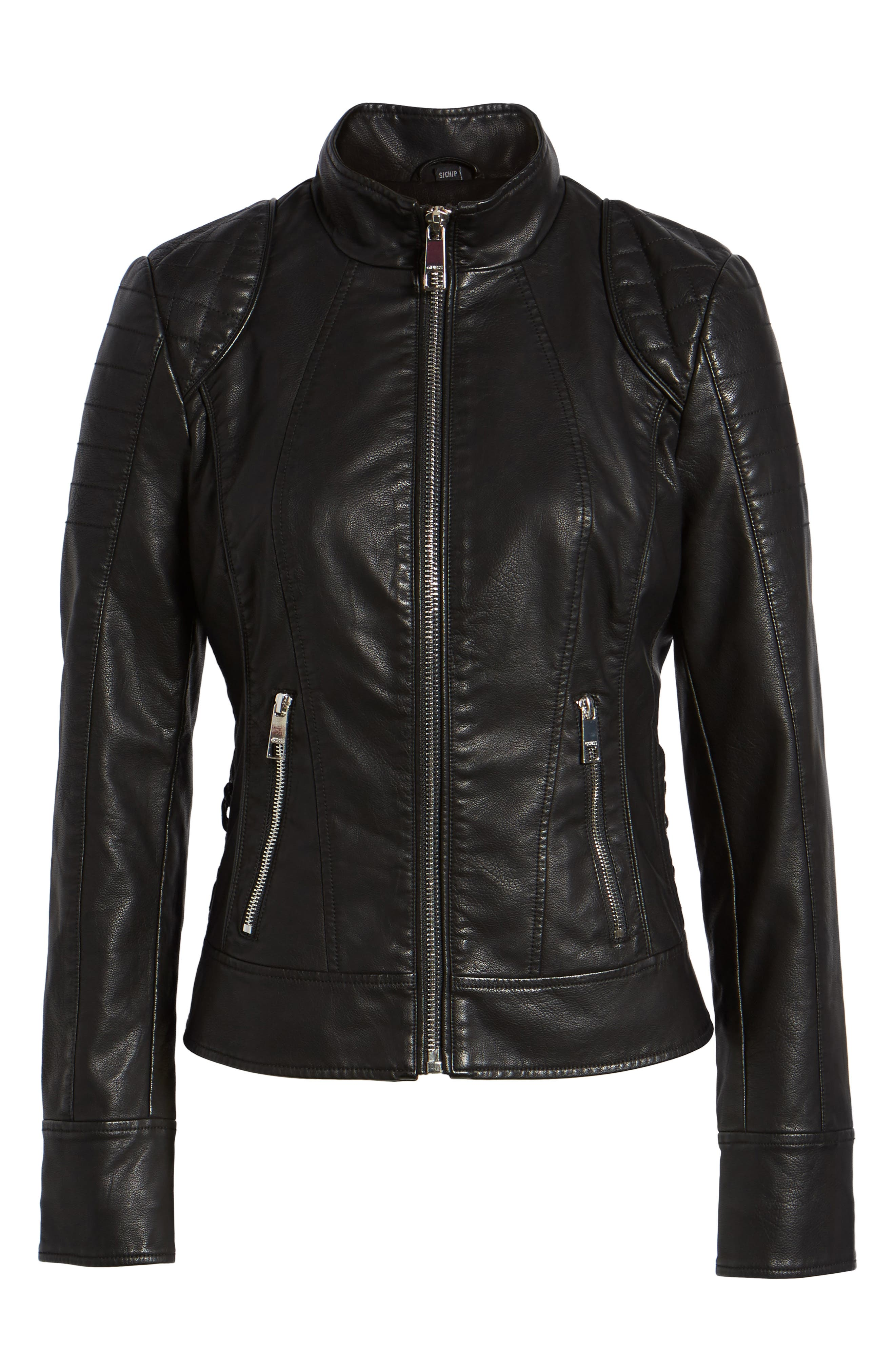 GUESS,                             Side Lace Faux Leather Jacket,                             Alternate thumbnail 6, color,                             001
