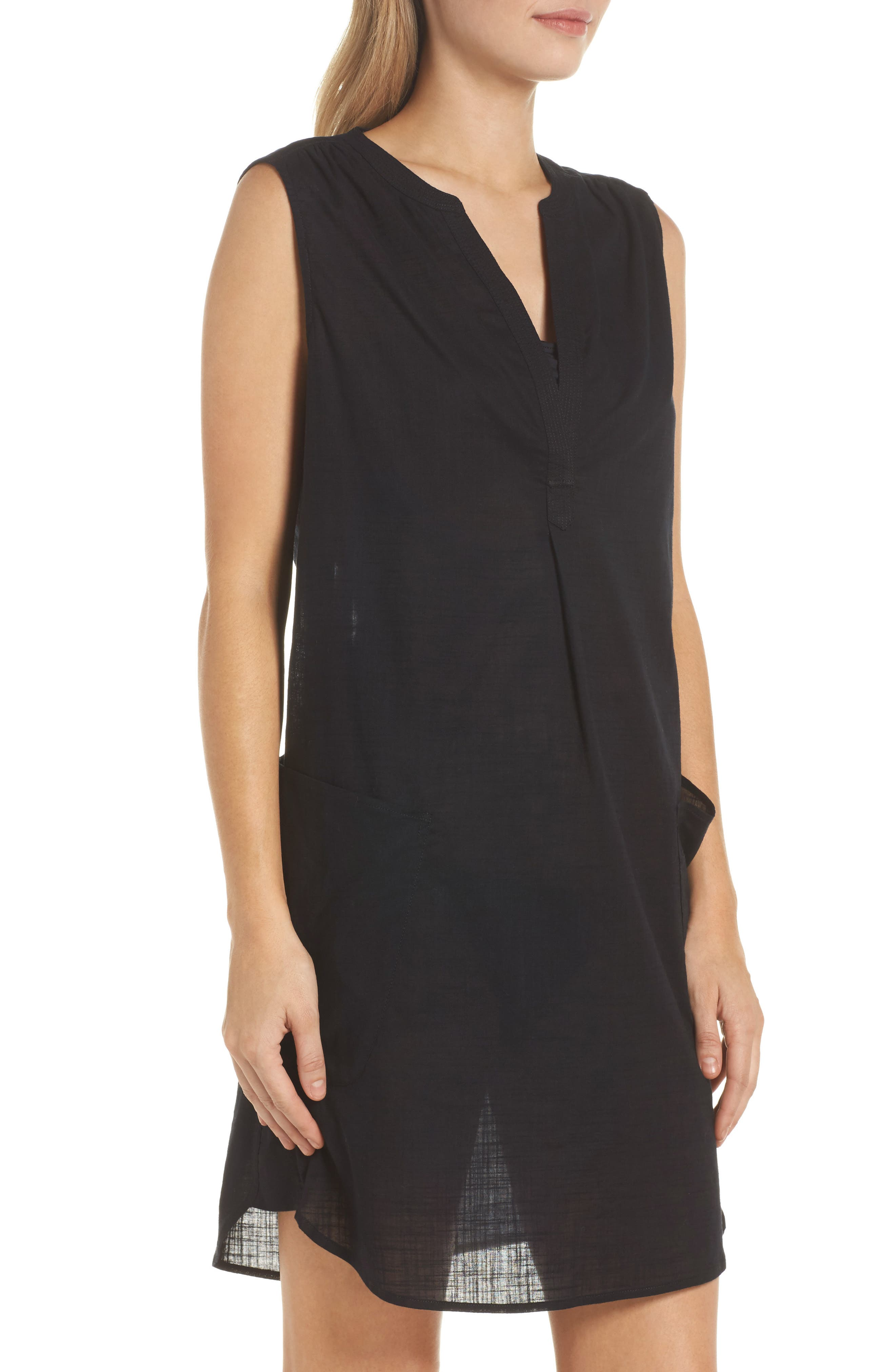 Palm Beach Cover-Up Dress,                             Alternate thumbnail 3, color,                             001
