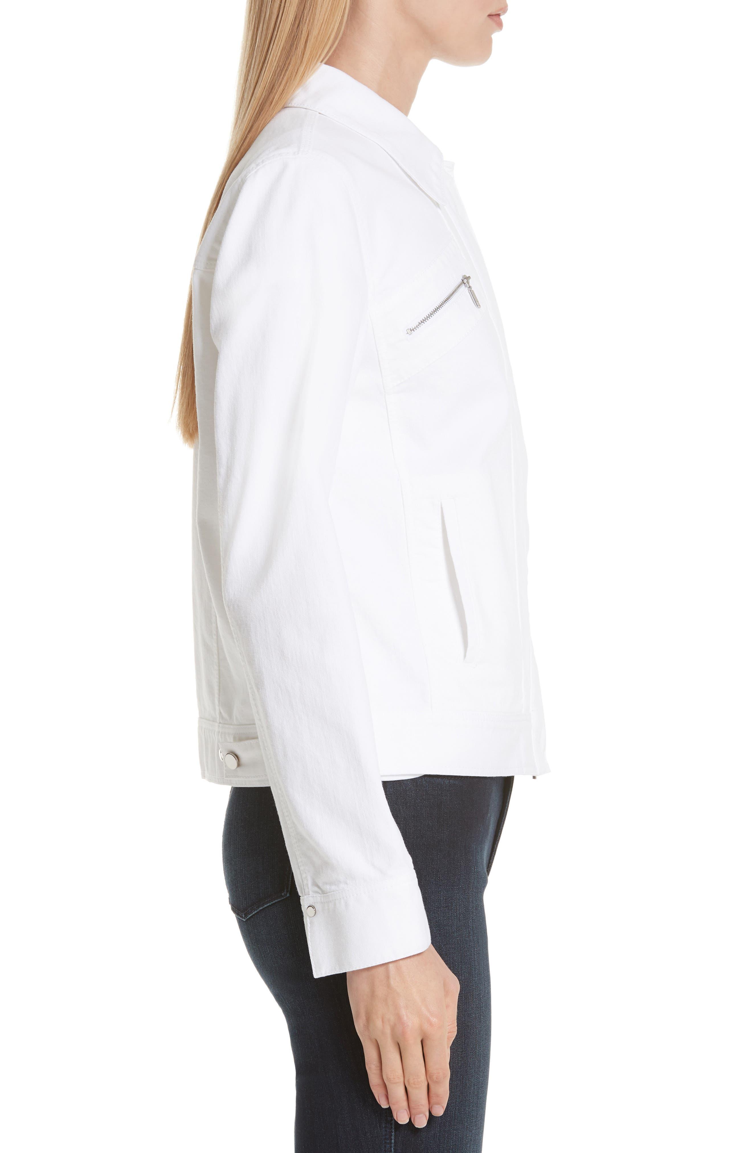 Kesha Denim Jacket,                             Alternate thumbnail 3, color,                             WHITE