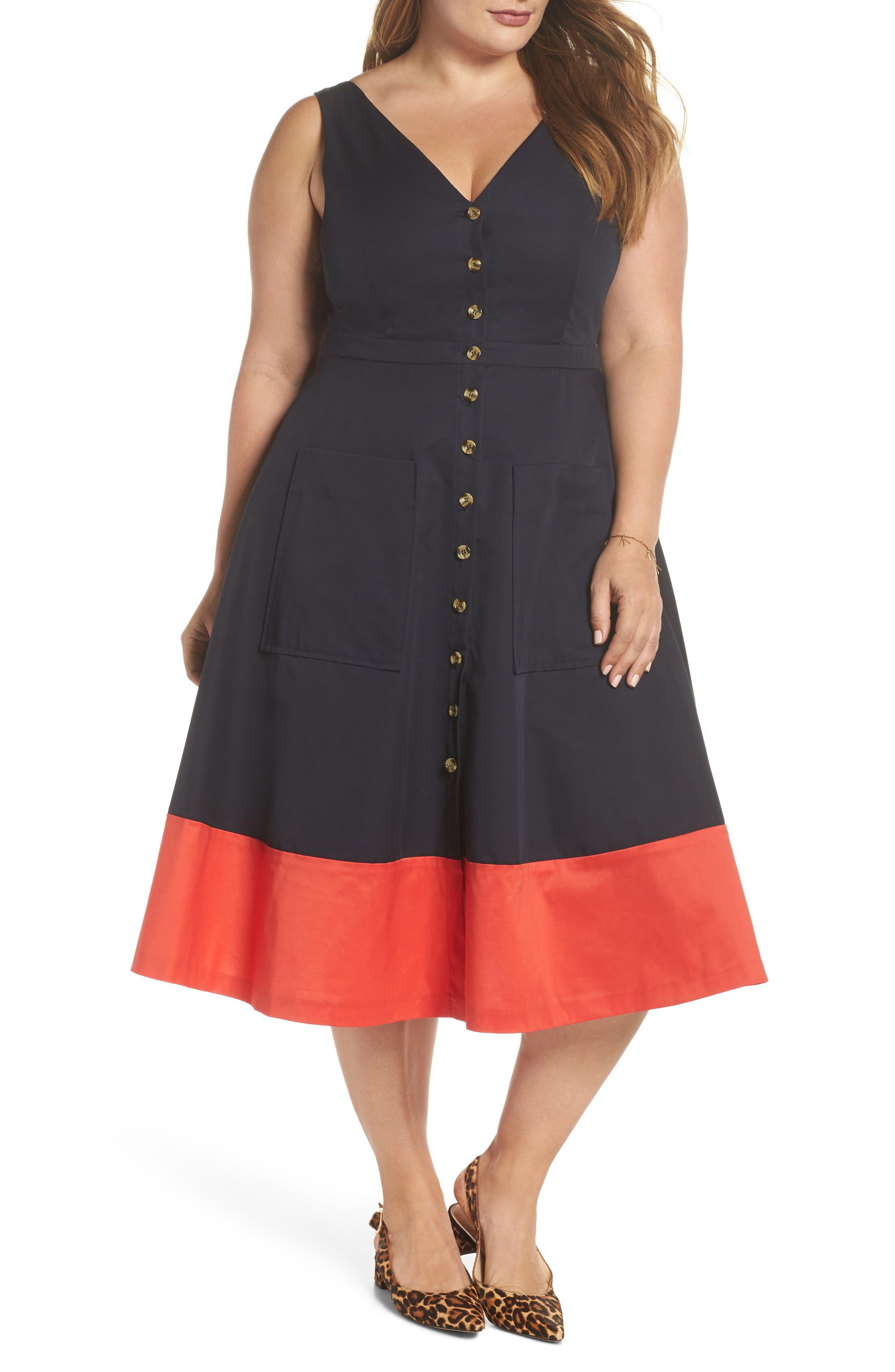 Colorblock Cotton Midi Dress,                             Main thumbnail 1, color,                             NAVY RED COLOR BLOCK