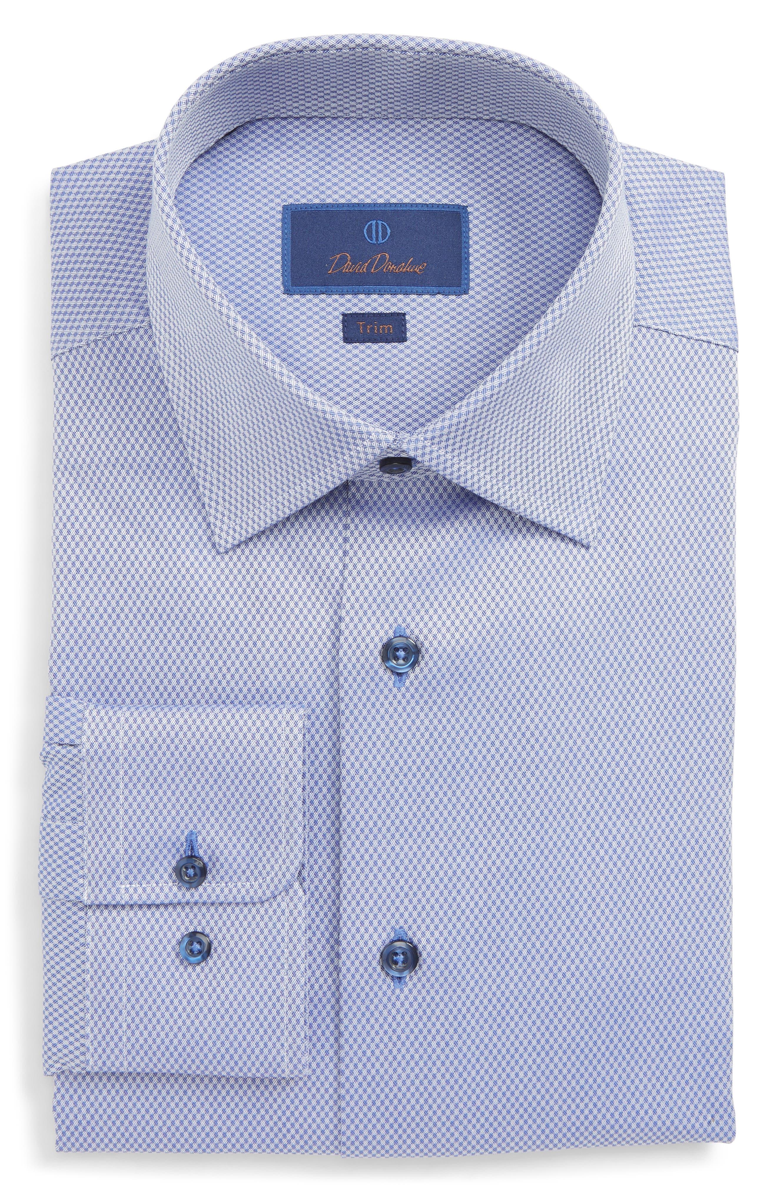 DAVID DONAHUE Men'S Trim-Fit Tonal Box Dress Shirt, Blue