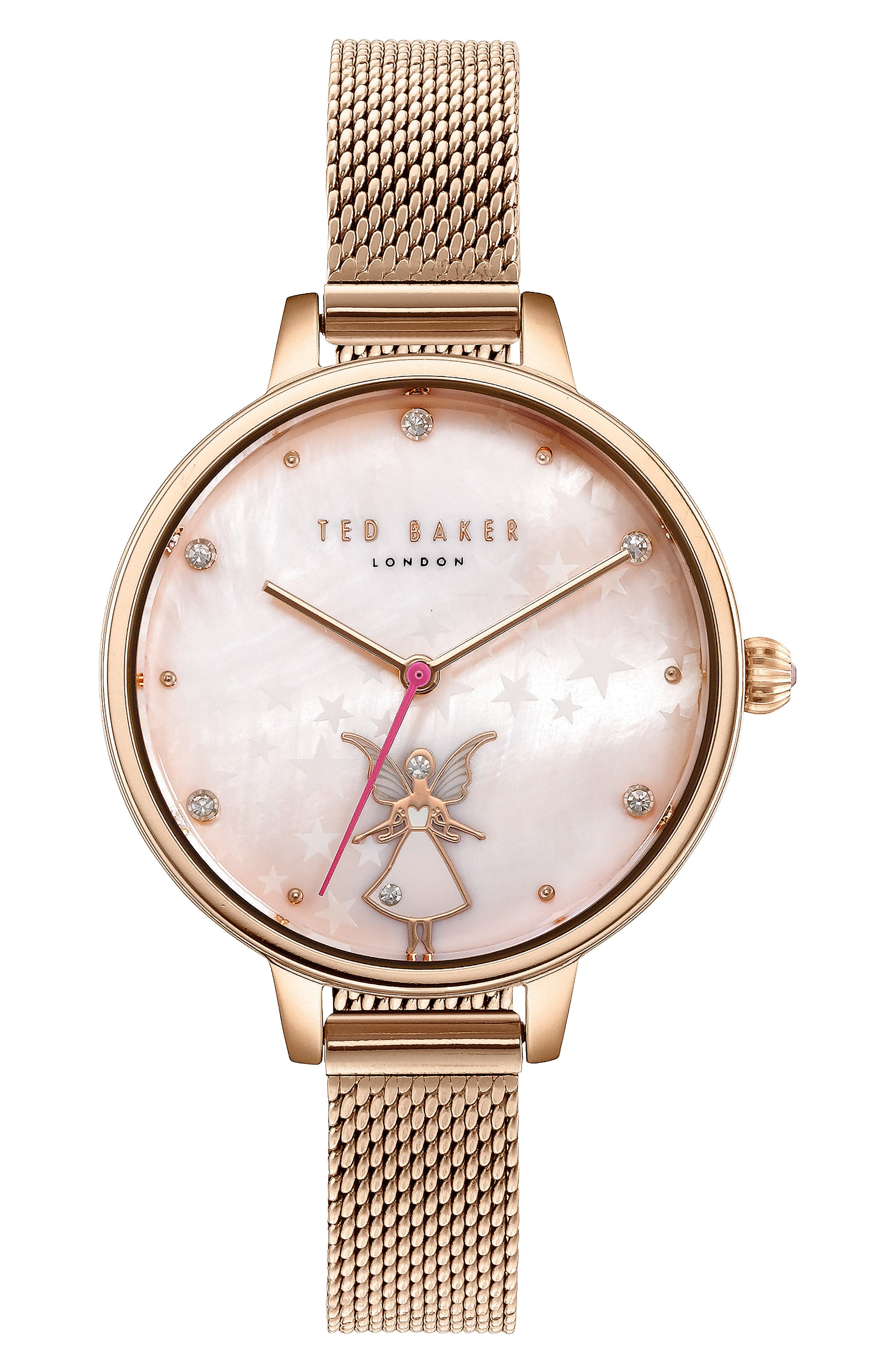 Kate Mesh Strap Watch, 32mm,                             Main thumbnail 1, color,                             ROSE GOLD/ MOP/ ROSE GOLD